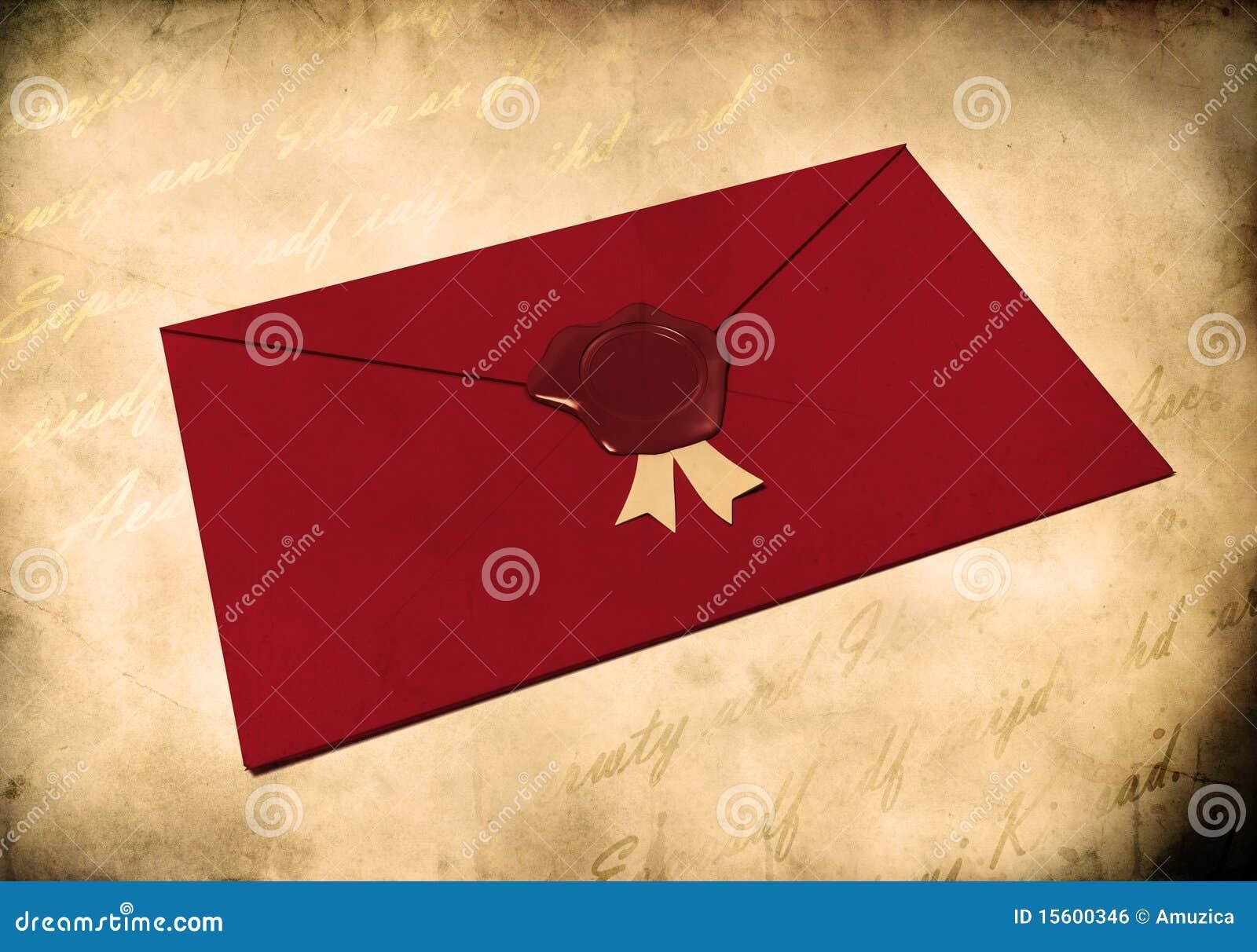 Enveloppe rouge scellée avec le sceau rouge de cire