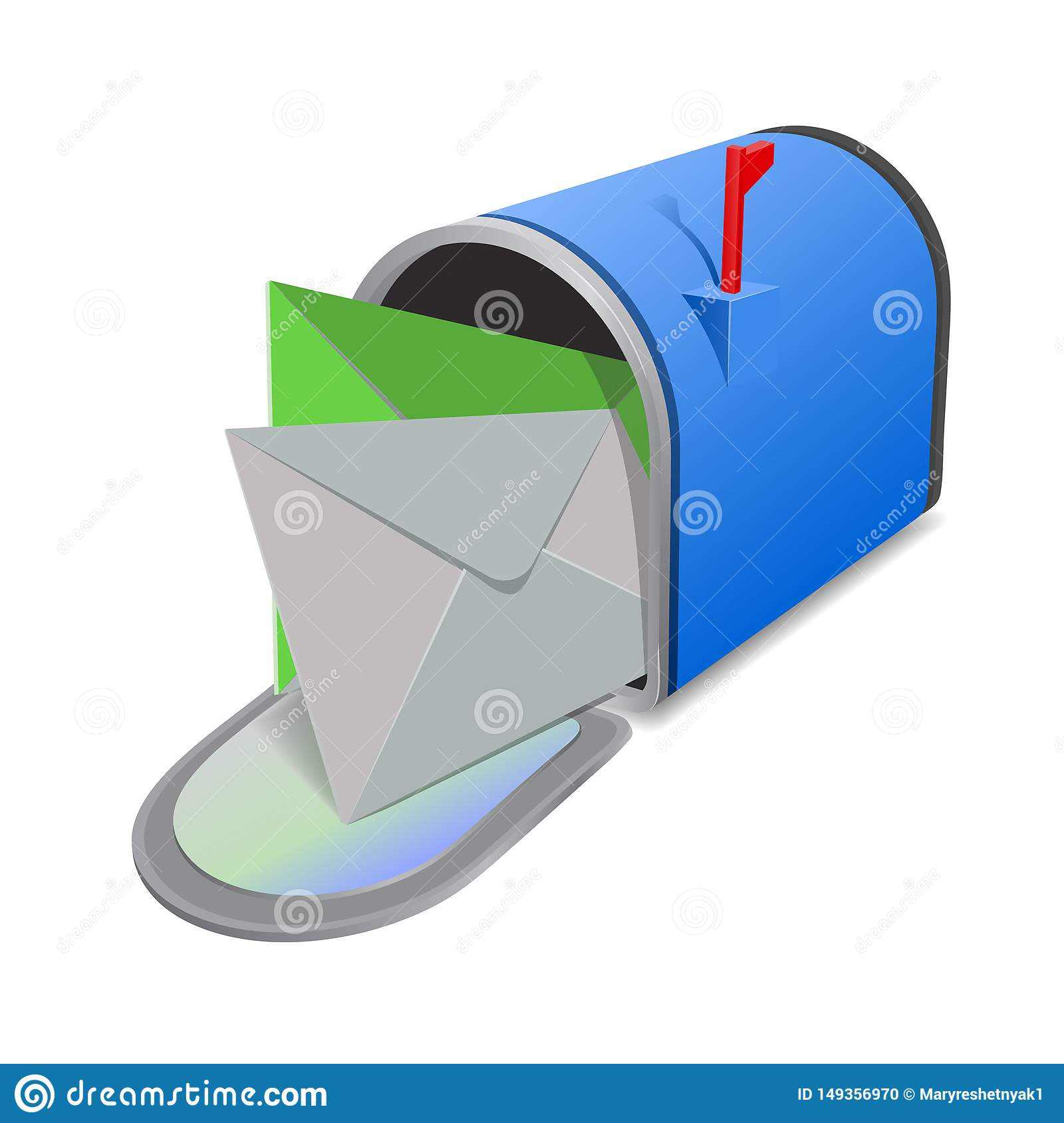 EnveOpen red mail box with envelopes on the cover isolated from background. Vector