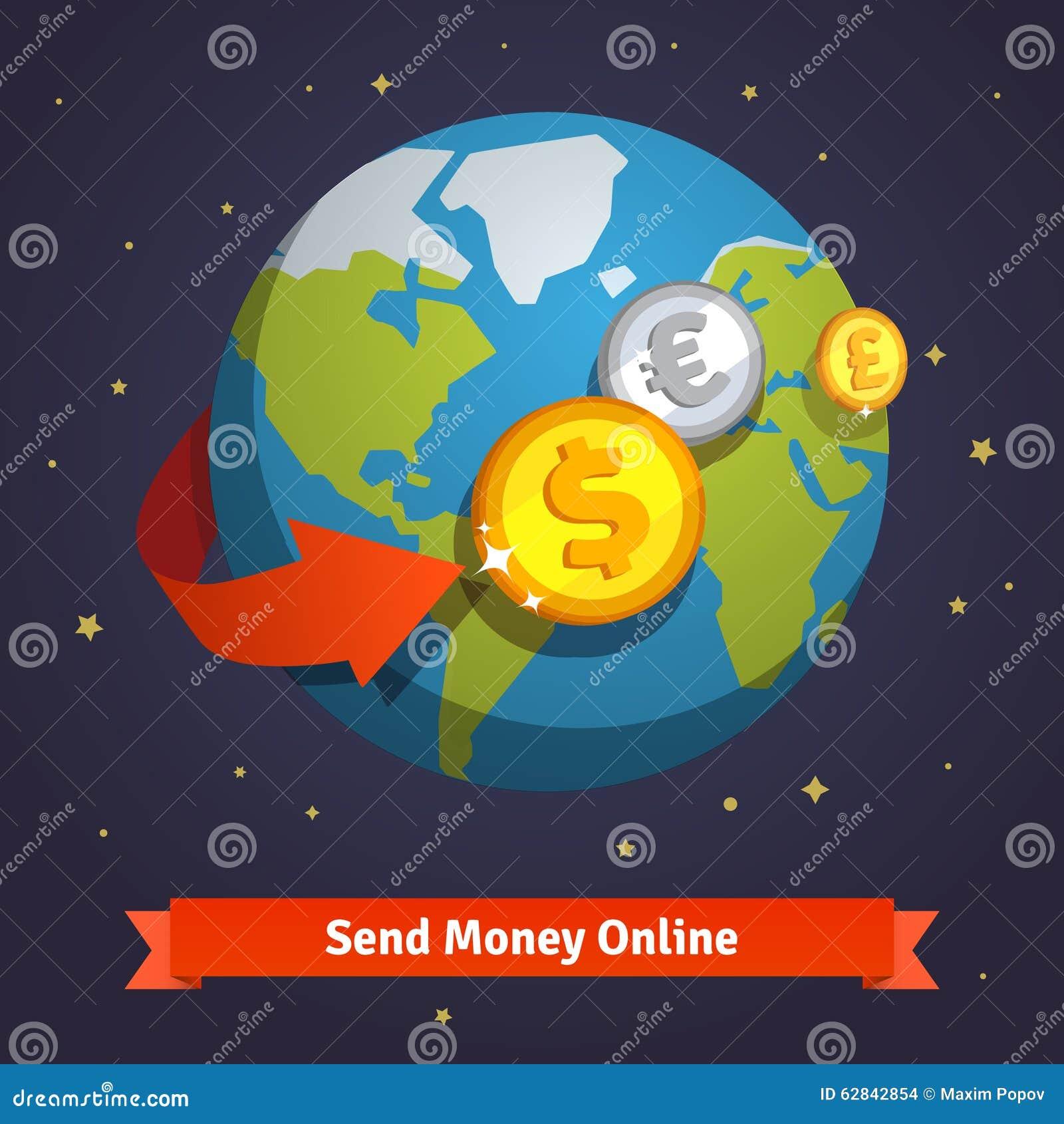 Envie a dinheiro o conceito em linha