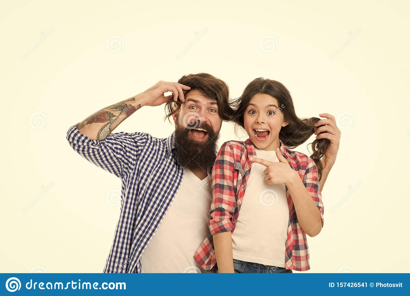 Superb He Envies My Hairstyle Man With Beard And Little Girl Long Hair Natural Hairstyles Runnerswayorg