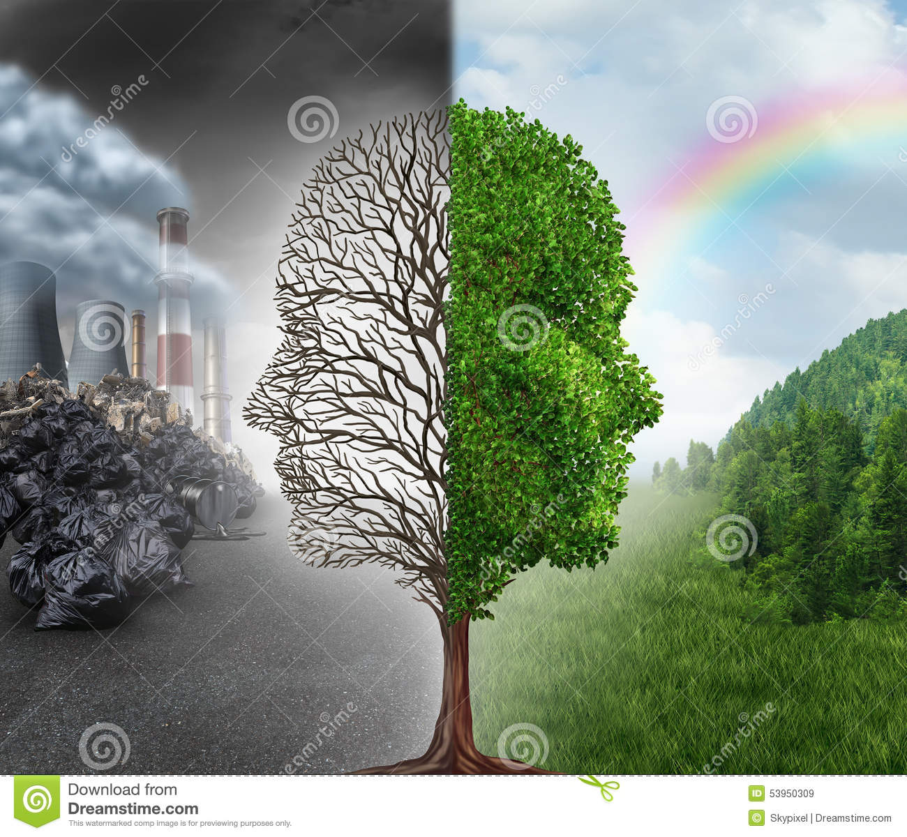 Environment change and global warming environmental concept as a scene ...