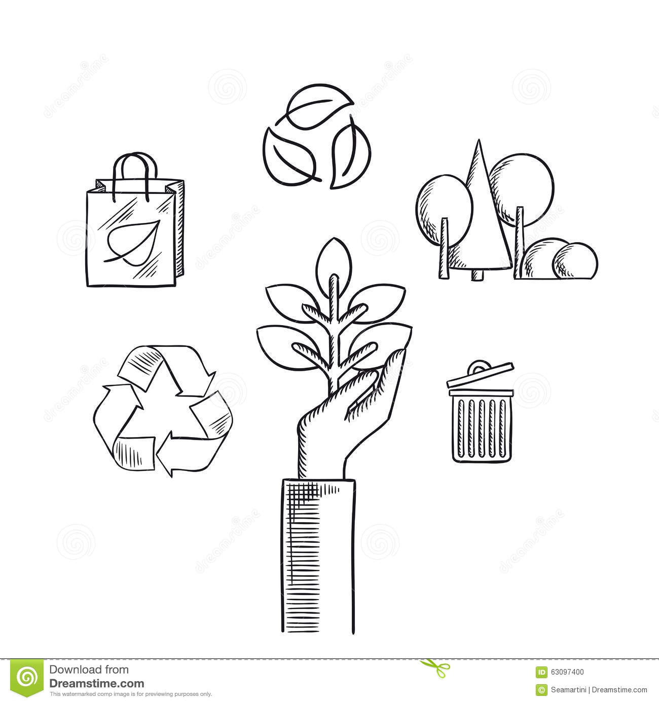 Environment protection concept with plant in hand recycling symbols with arrows and leaves eco shopping bag forest landscape with trees and trash can