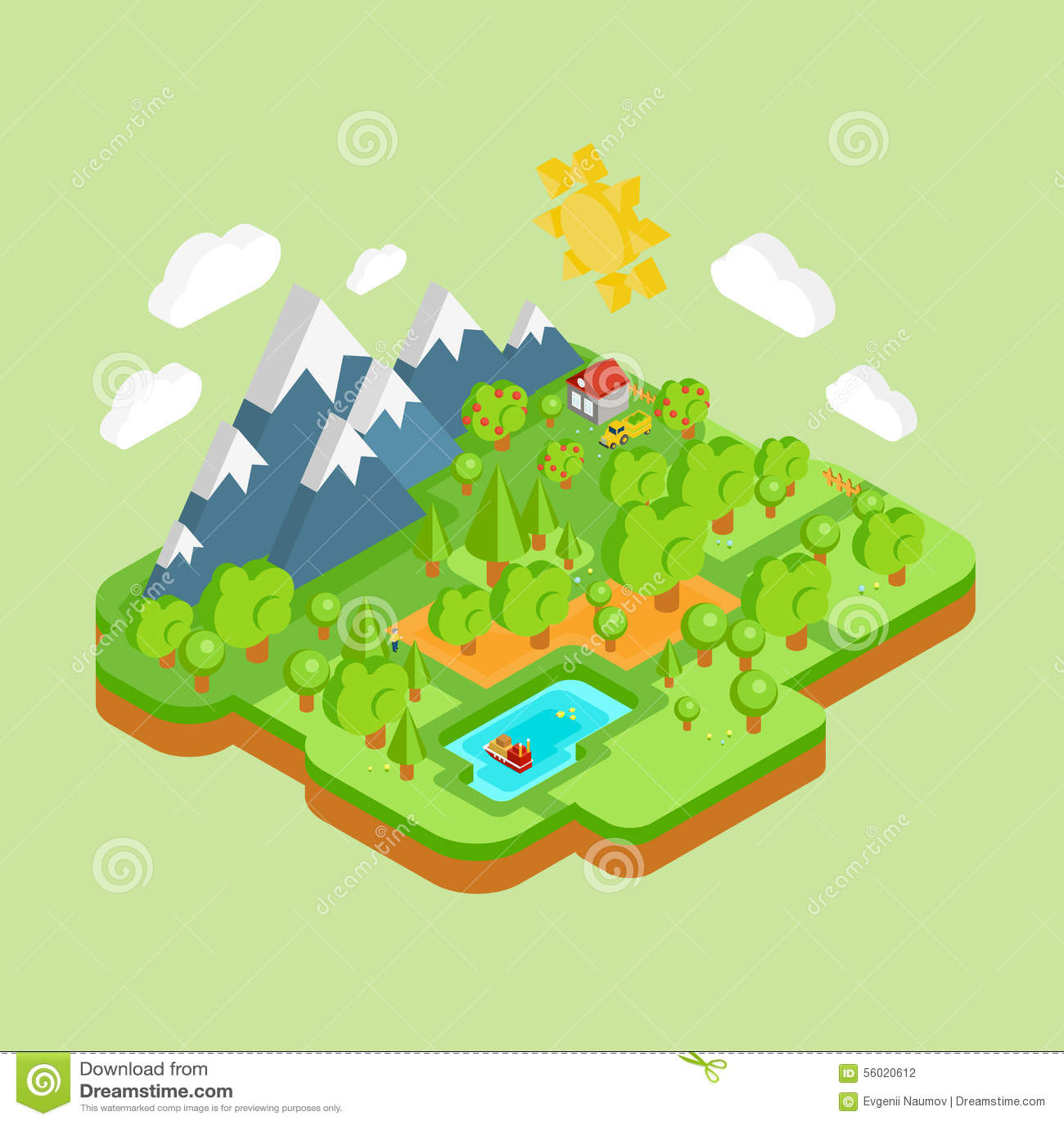 Environmental Concept Earthfriendly Landscapes: Environment Friendly Natural Landscape Stock Vector