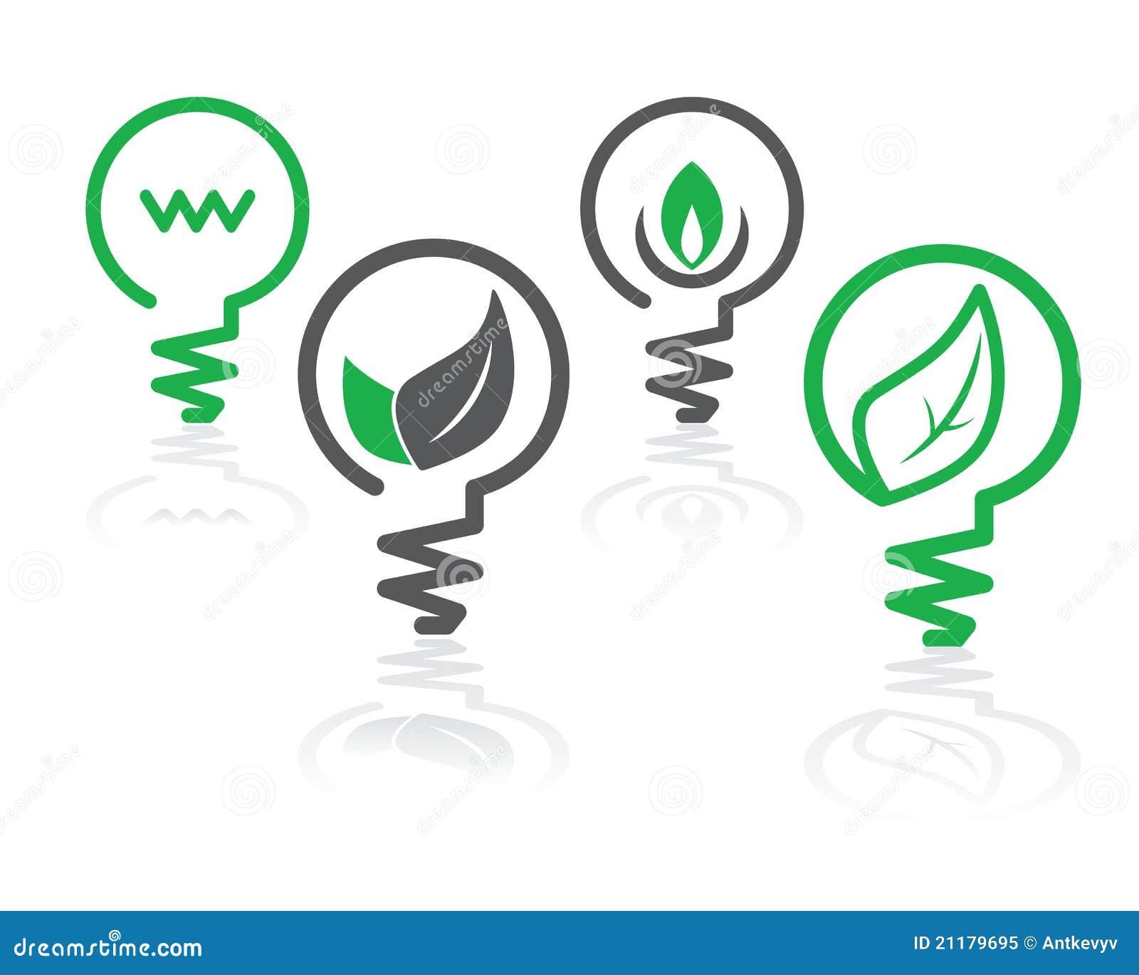Environment green light bulb icons