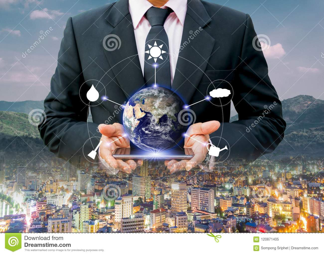 Environment for the world Urban environmental protection and technology,Elements of this image furnished by NASA