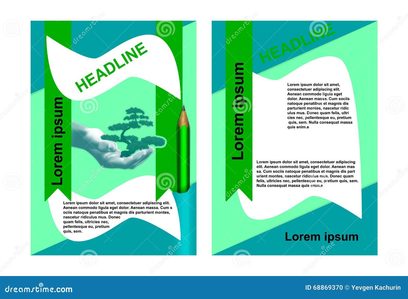 environmental brochure hand with tree stock illustration