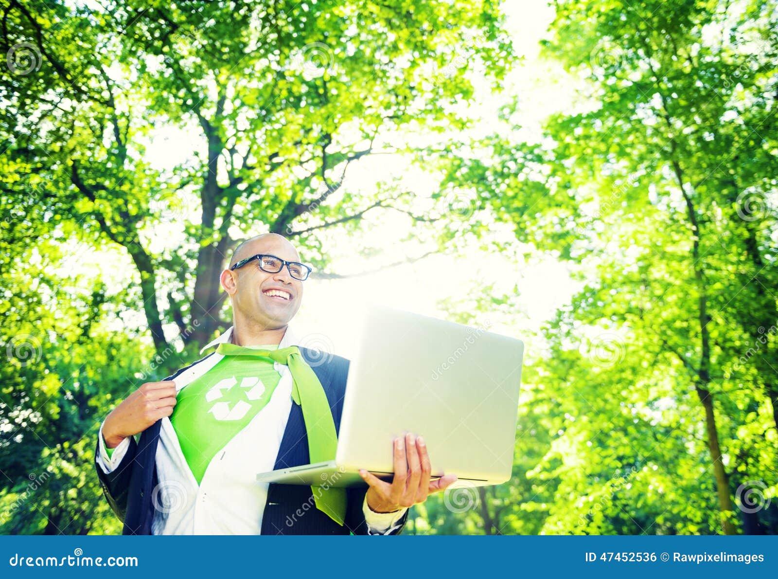 Environmental Conservative Businessman Working Laptop Woods Concept