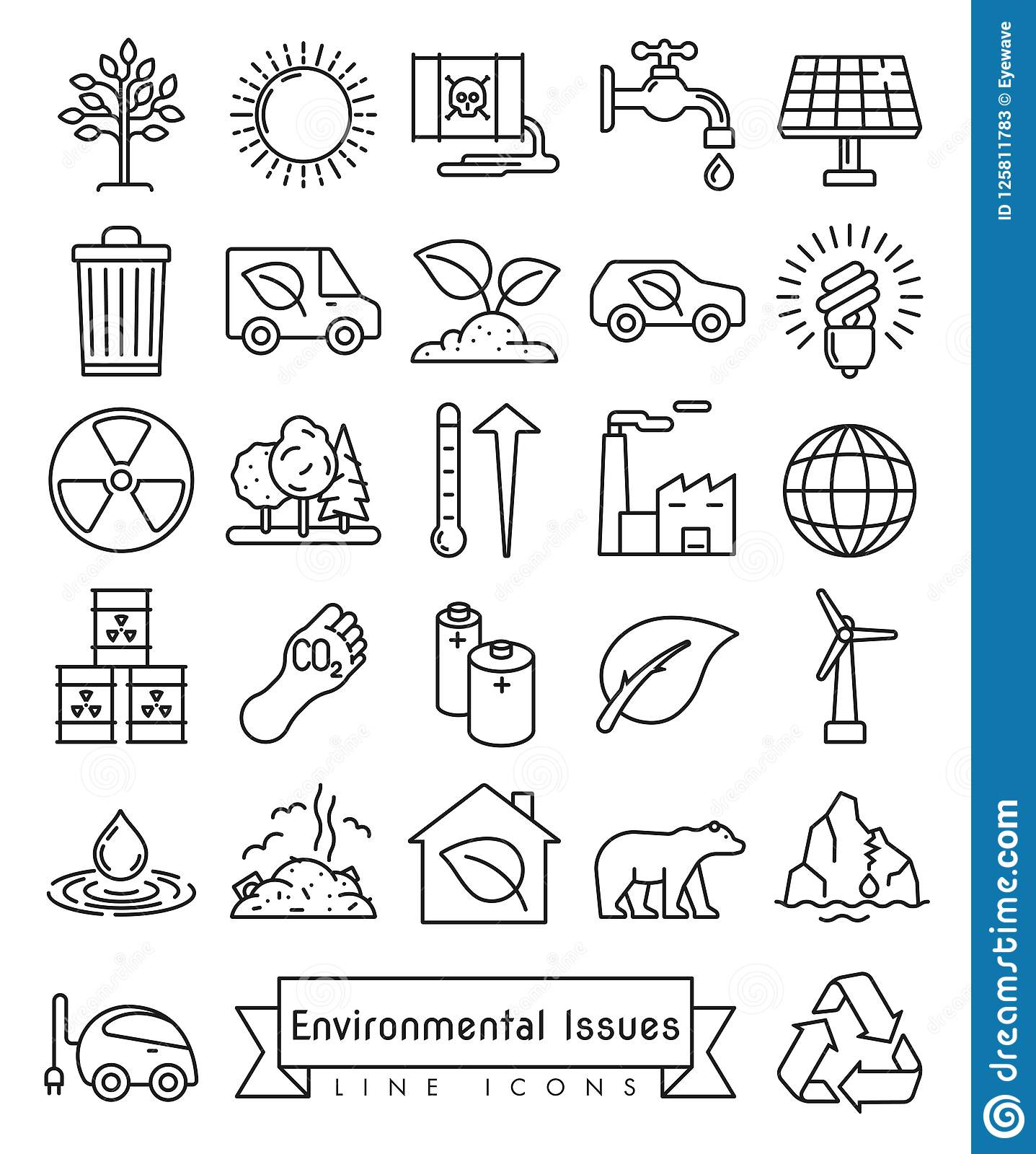 Environmental Issues Line Icons Set Stock Vector