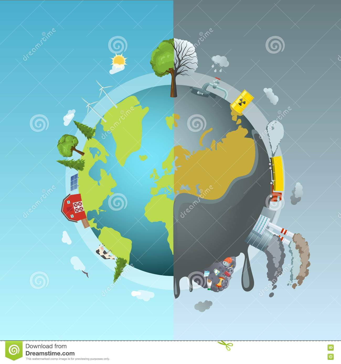 infographic concept of ecology problem cartoon vector
