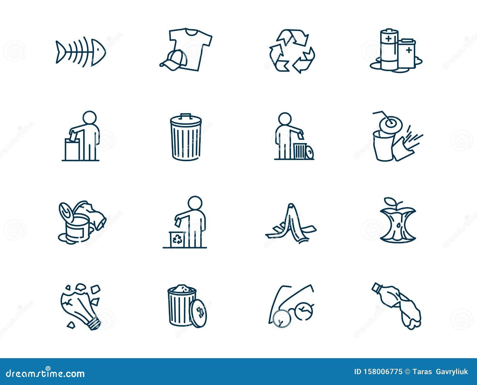 Environmental pollution vector linear icons set