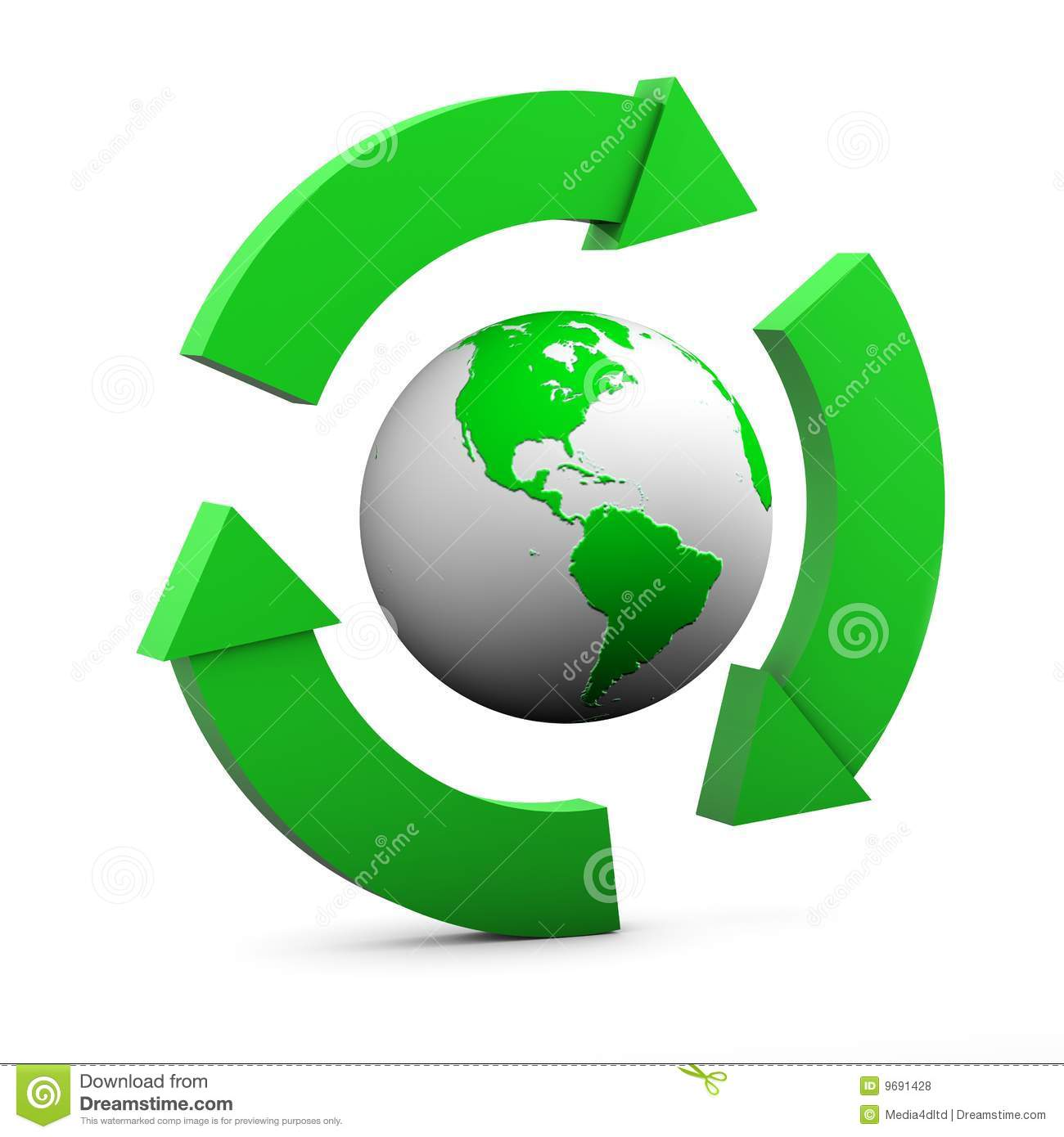Environmental Sign with globe showing USA in green on white background ...