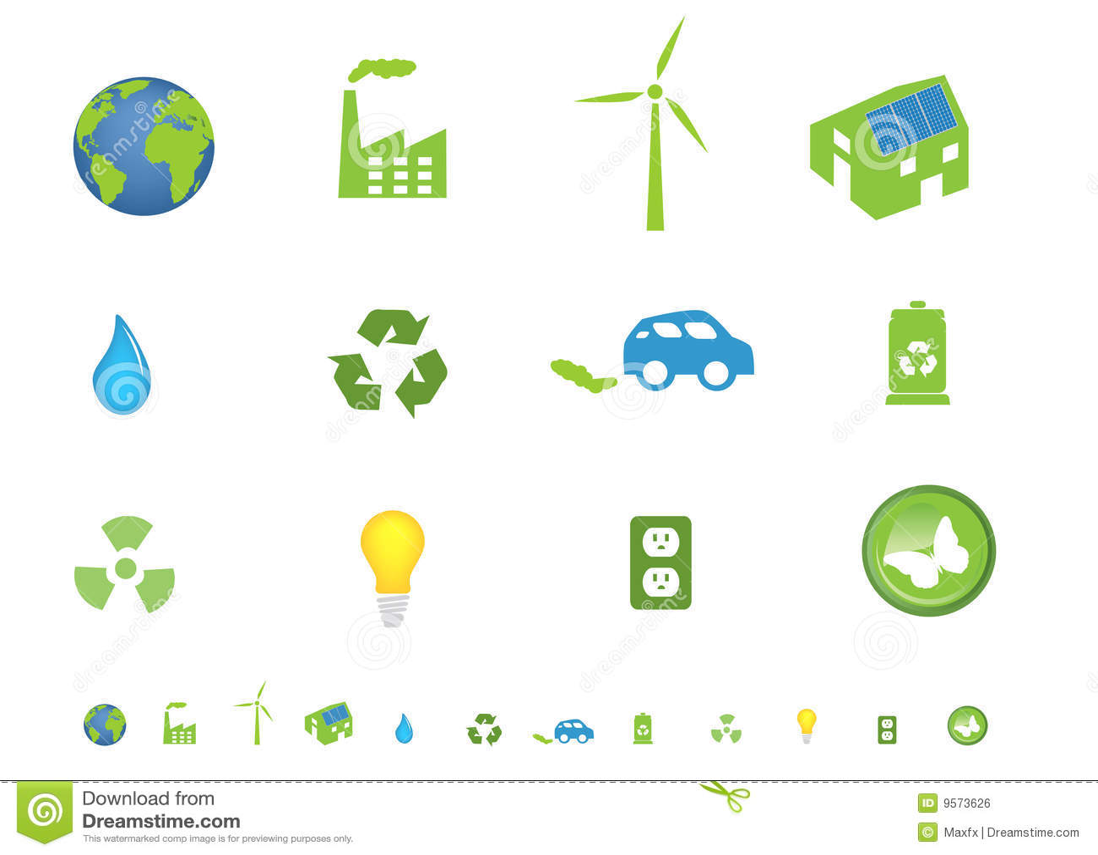 Environmental Symbols Icon Set Stock Vector Illustration