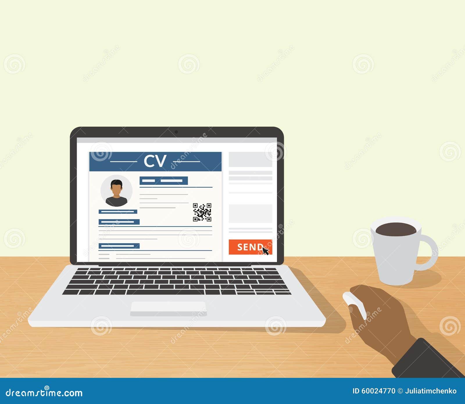 Envoi De Cv Par L Intermediaire De L Email Illustration De Vecteur