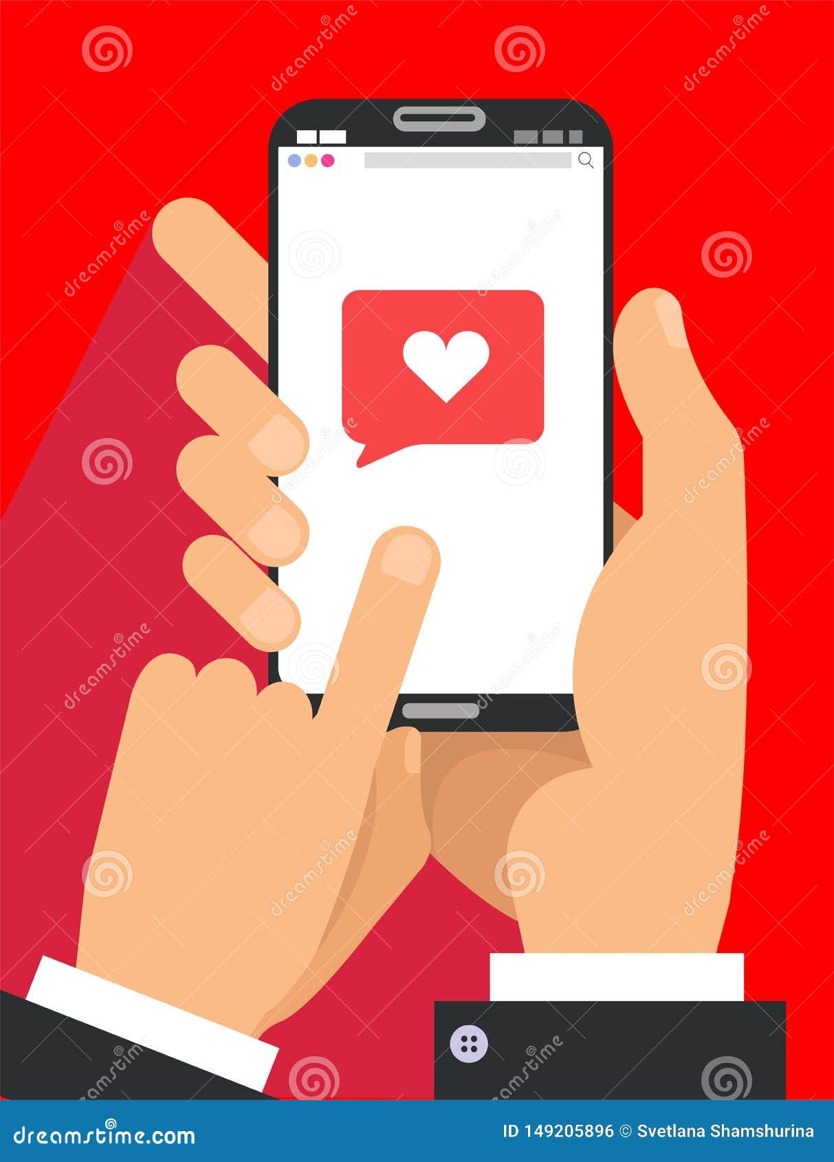 Envoi du concept de message d amour Deux mains masculines dans le téléphone de participation de costume avec le coeur, envoient l