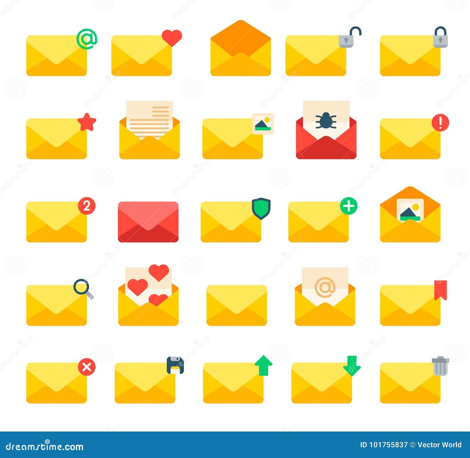 Envoyez l enveloppe jaune de lettre de message, ensemble de vecteur d icônes de couverture