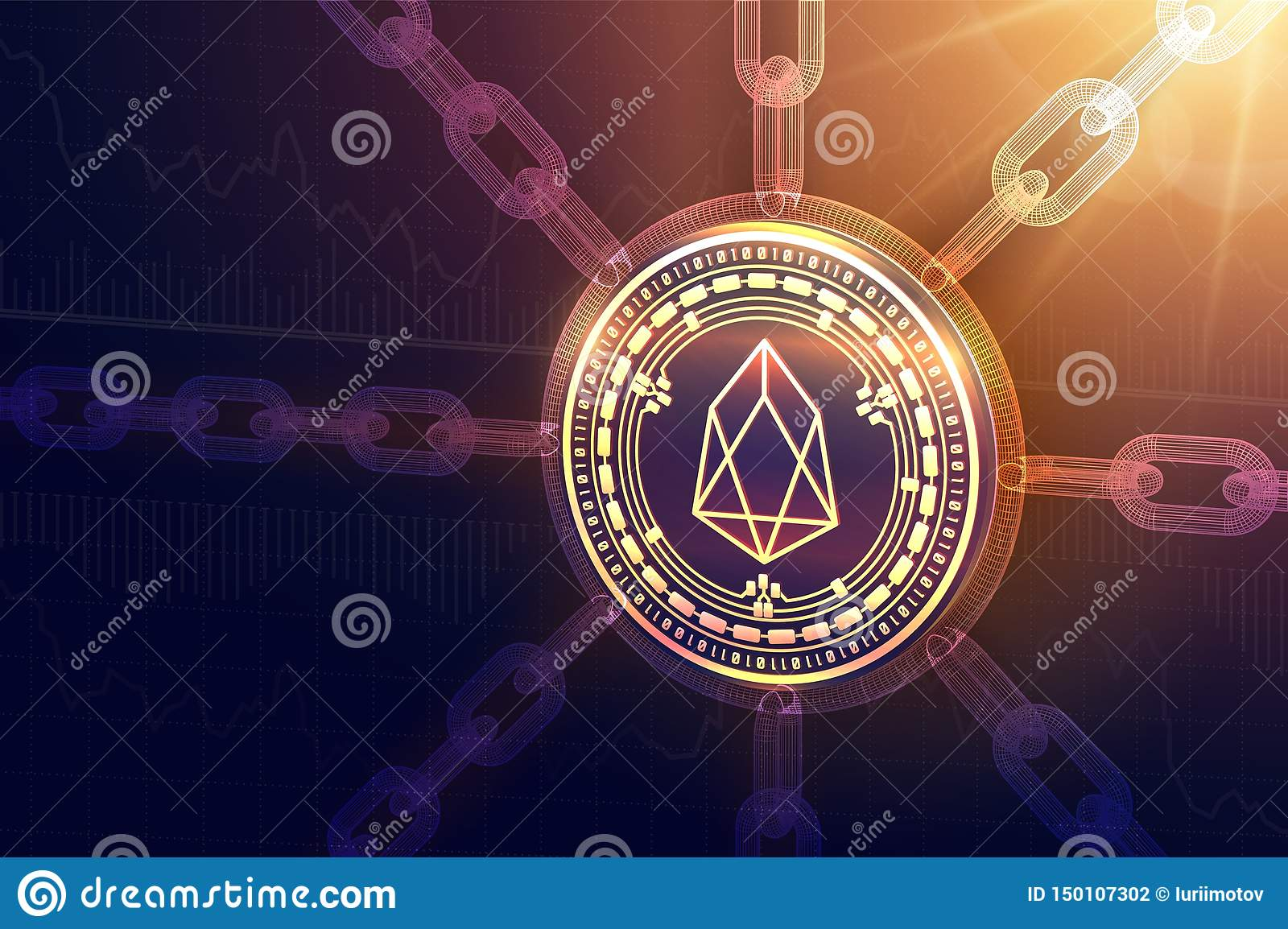 EOS. Crypto currency. Block chain. 3D isometric Physical EOS coin with wireframe chain. Blockchain concept. Editable