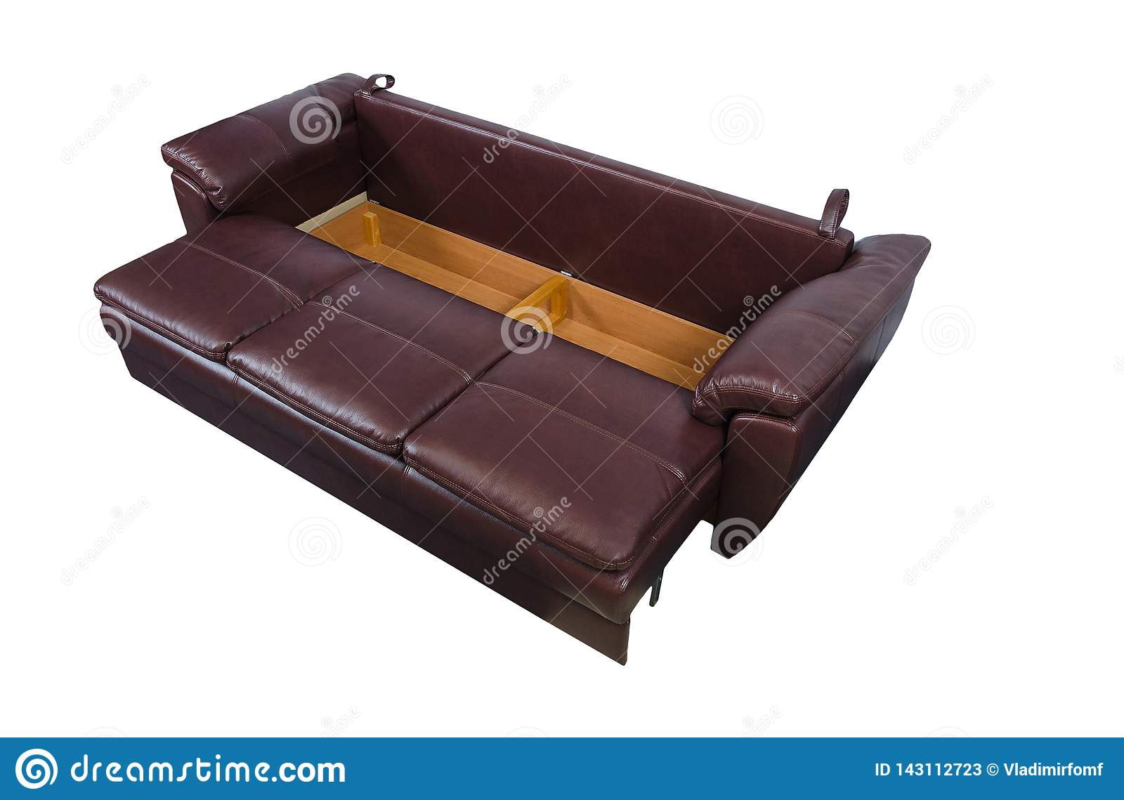 Epanded brown leather sofa isolated on white with clipping path