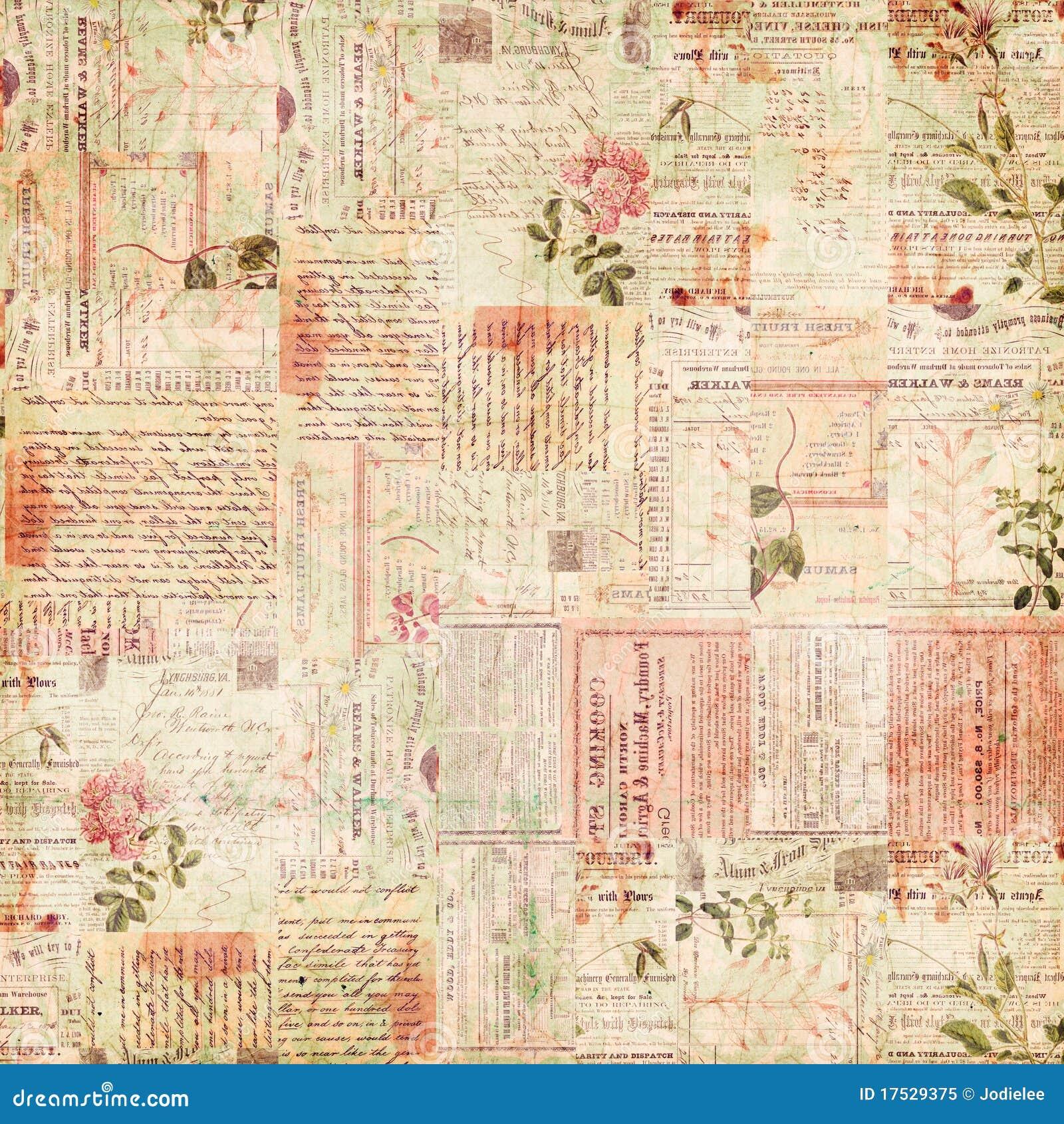 Ephemera коллажа цветет бумажный сбор винограда текста