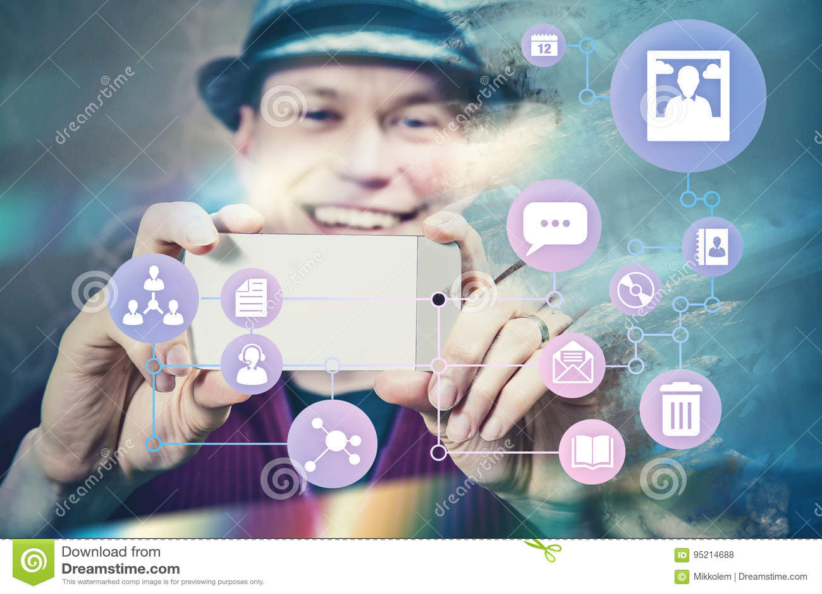 Ephemerer Internet-Social Media-Konzeptmann, der Foto macht