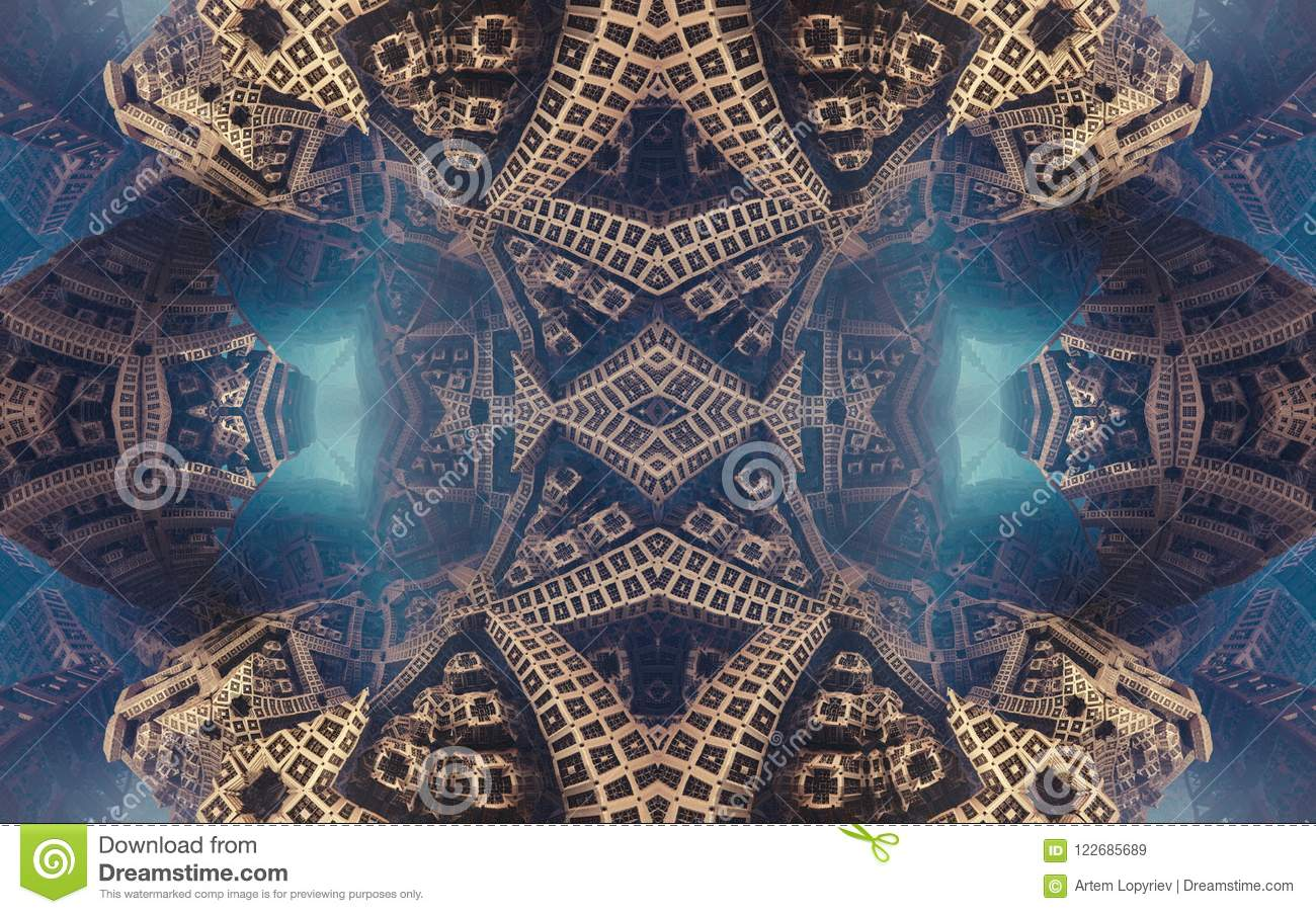 Epic abstract fantastic poster or background. Futuristic view from inside of the fractal. Pattern in form of arrows.
