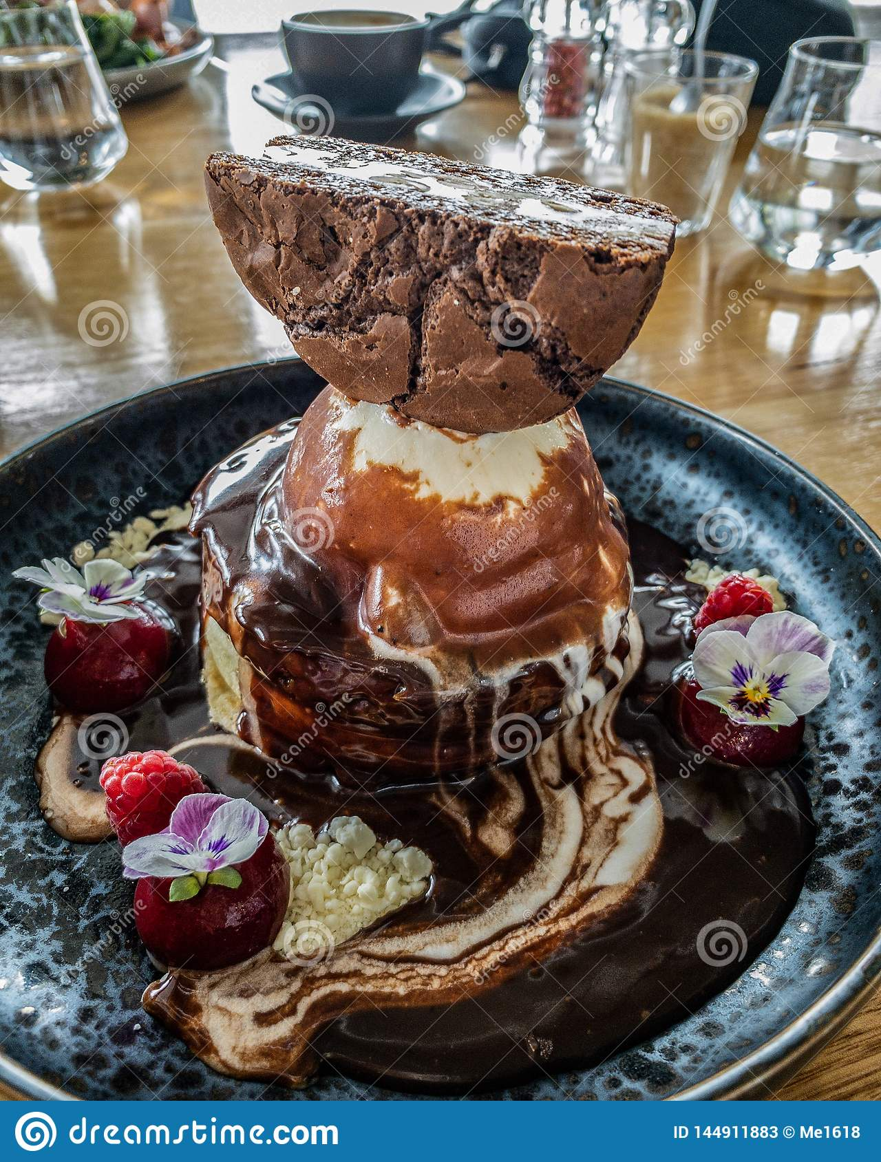 Epic pancake stack with ice-cream!