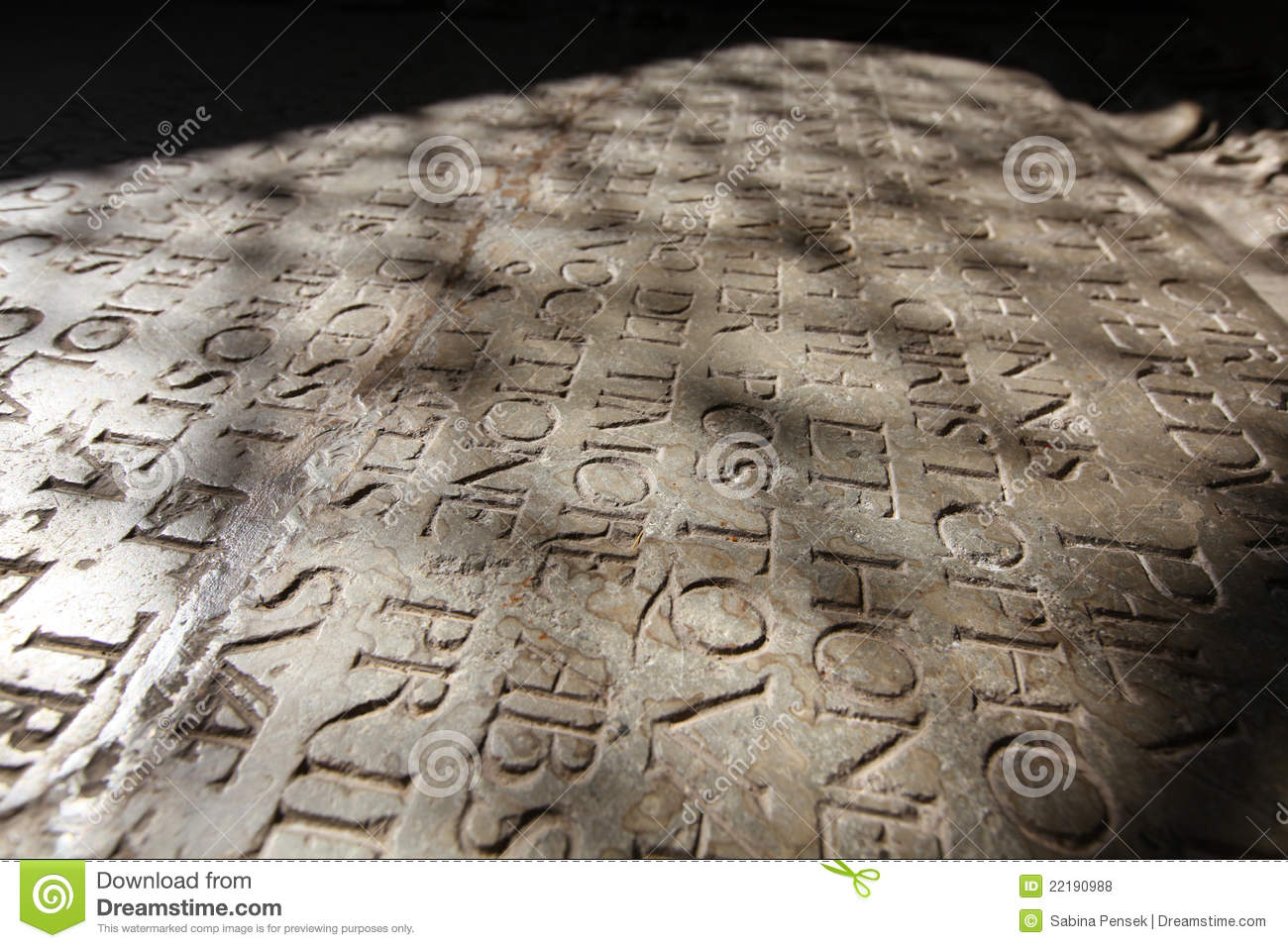 Epigraphy Tombstone With Inscription In Latin Stock Photo