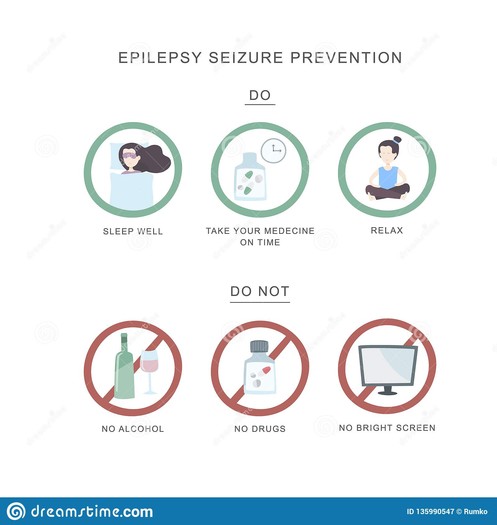 Epilepsy Seizure Pervention  Set Of Icons Do And Do Not In