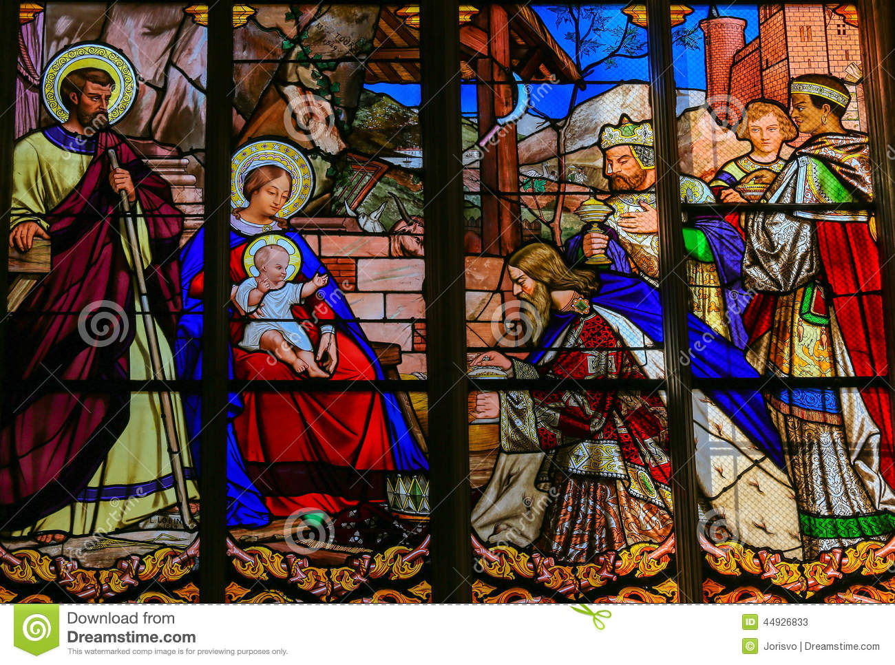 Stained glass window depicting the Epiphany, the Visit of the Three ...