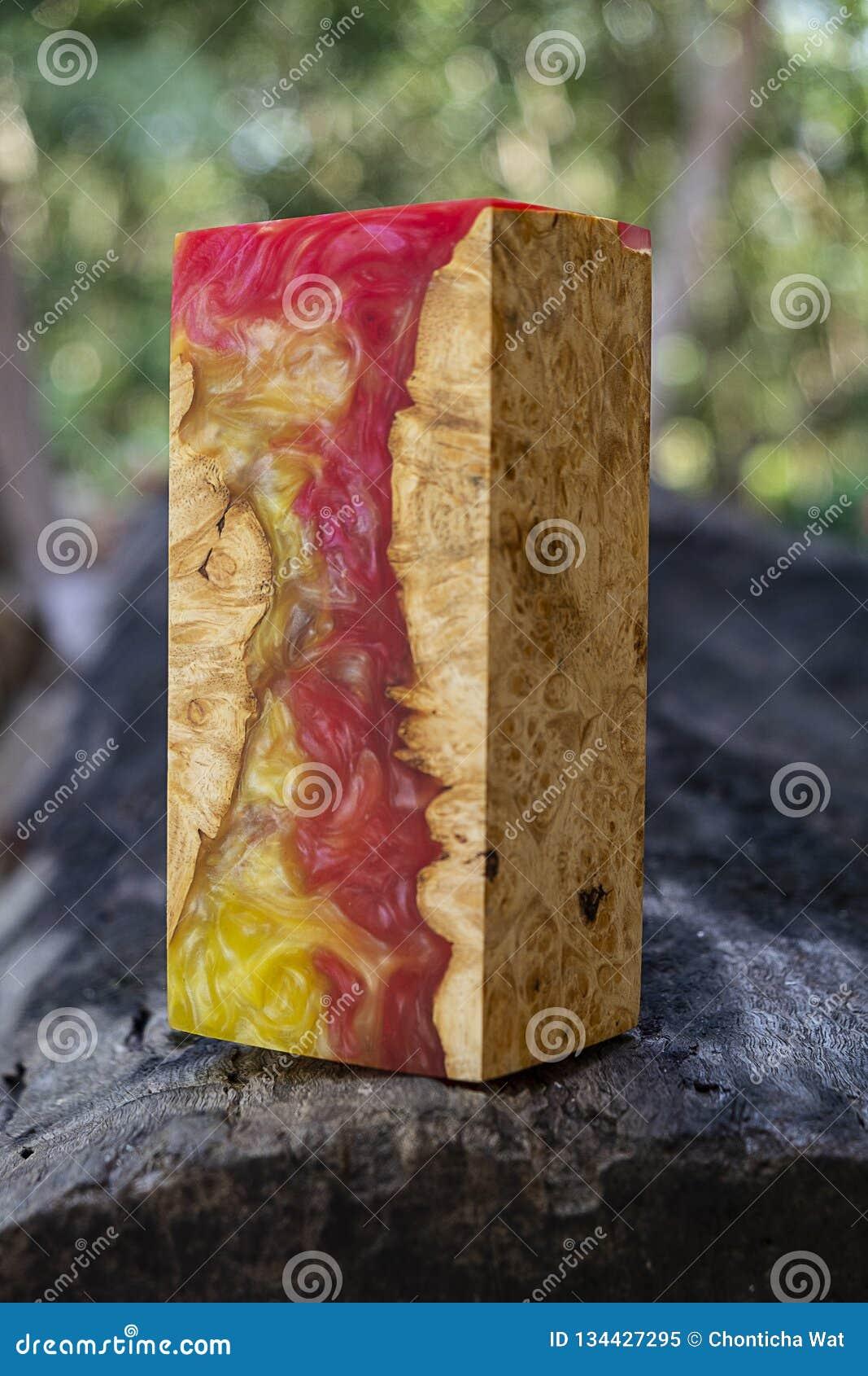 Epoxy Resin Stabilizing Afzelia Burl Exotic Wood Yellow