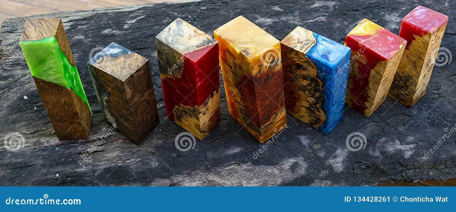 Epoxy Resin Stabilizing Afzelia Burl Exotic Wood Yellow Background