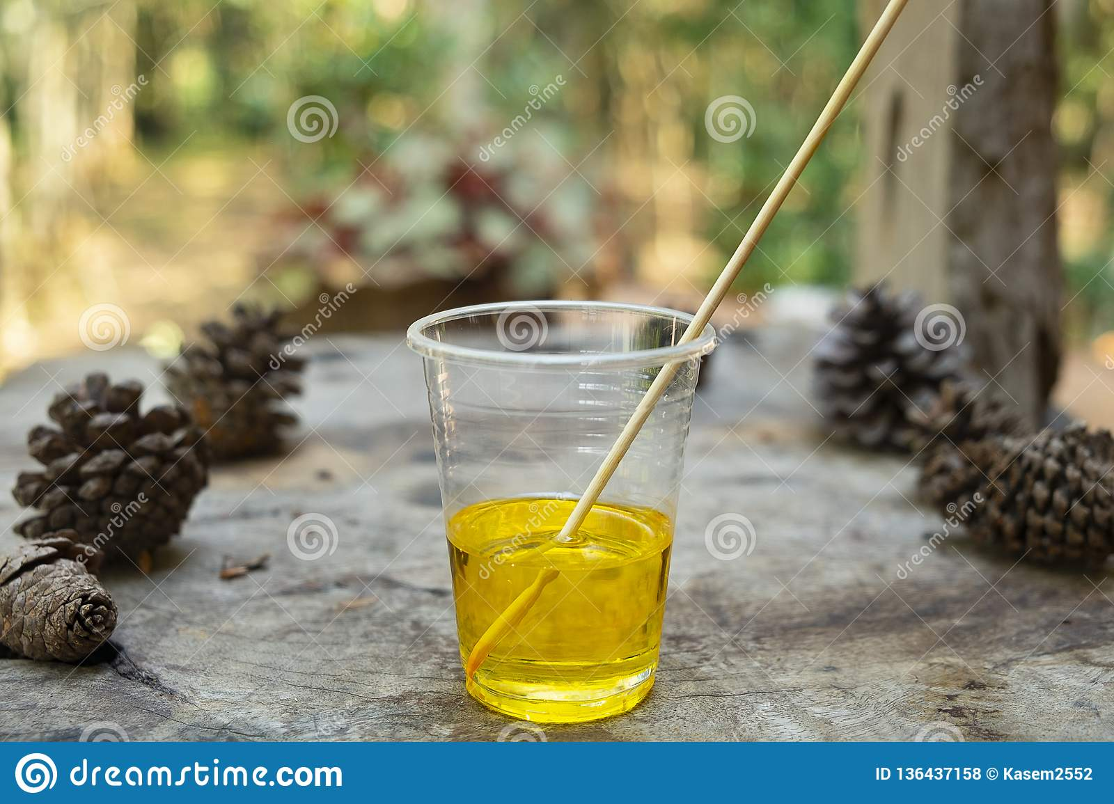 Epoxy Resin Yellow Color In Cup For Casting Stabilizing Wood And
