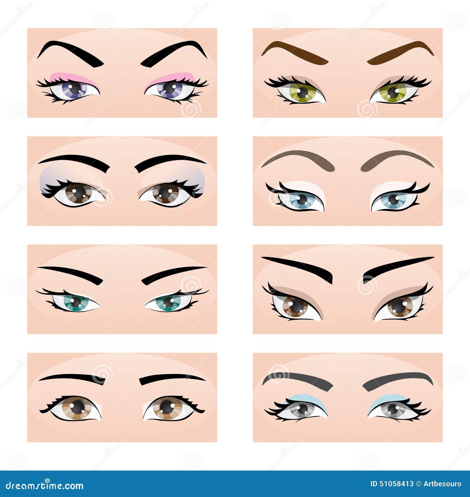 套女性眼睛和眼眉 向量例证, eps10
