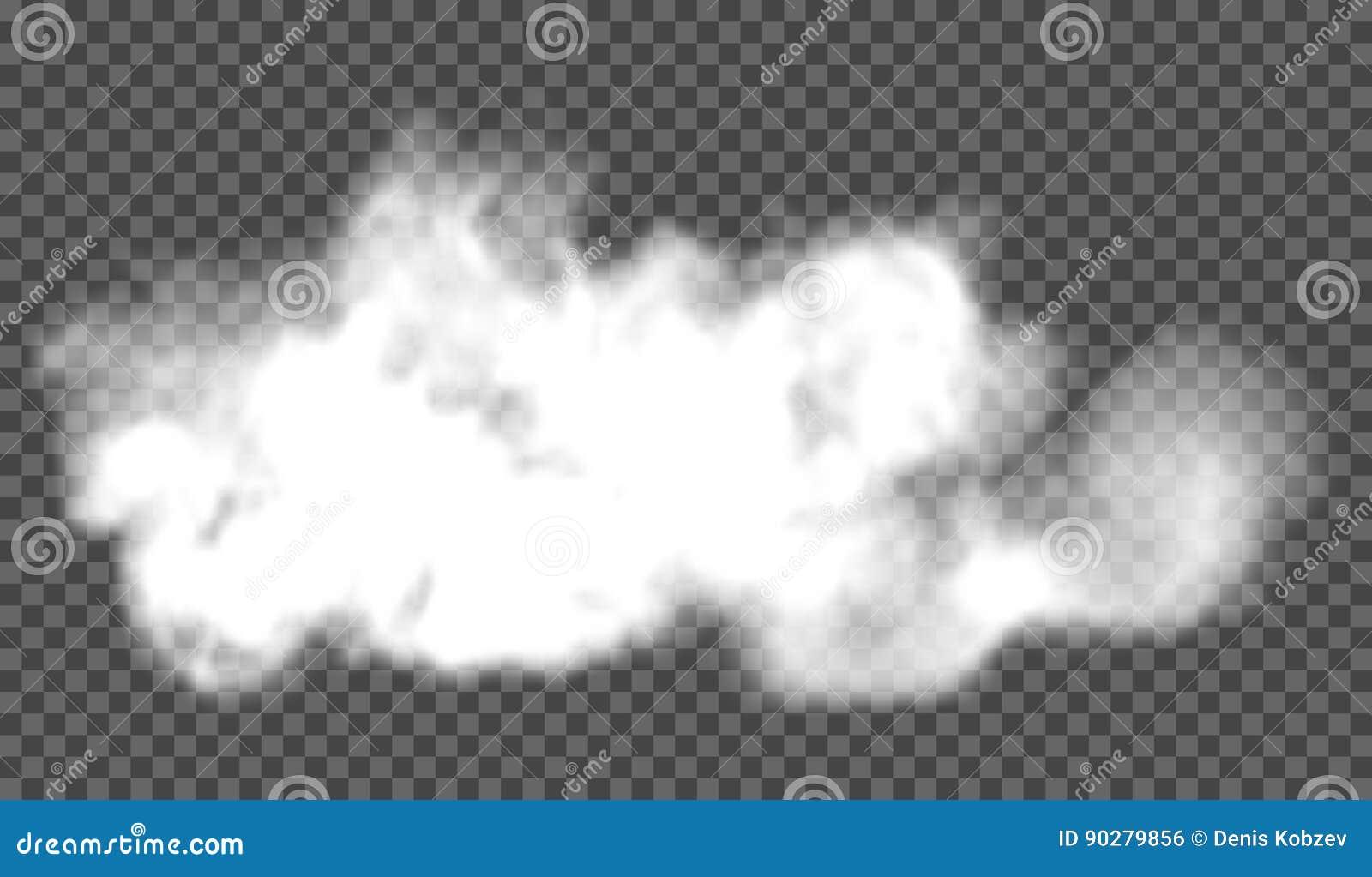 EPS 10 Efecto especial transparente de la niebla o del humo Nubosidad blanca del vector, niebla o fondo de la niebla con humo Ilu
