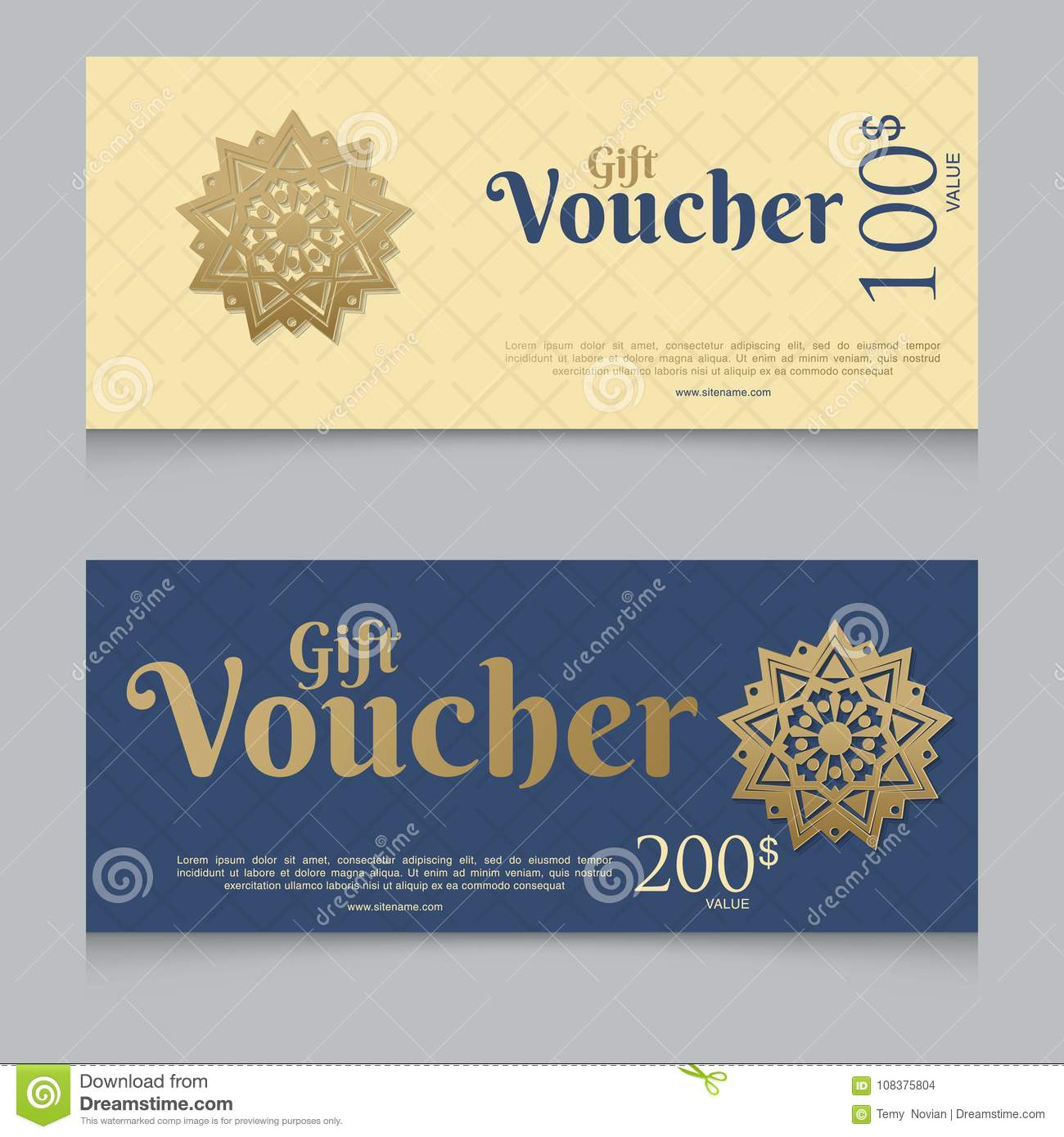 Voucher Gift Certificate Coupon Template Stock Illustration
