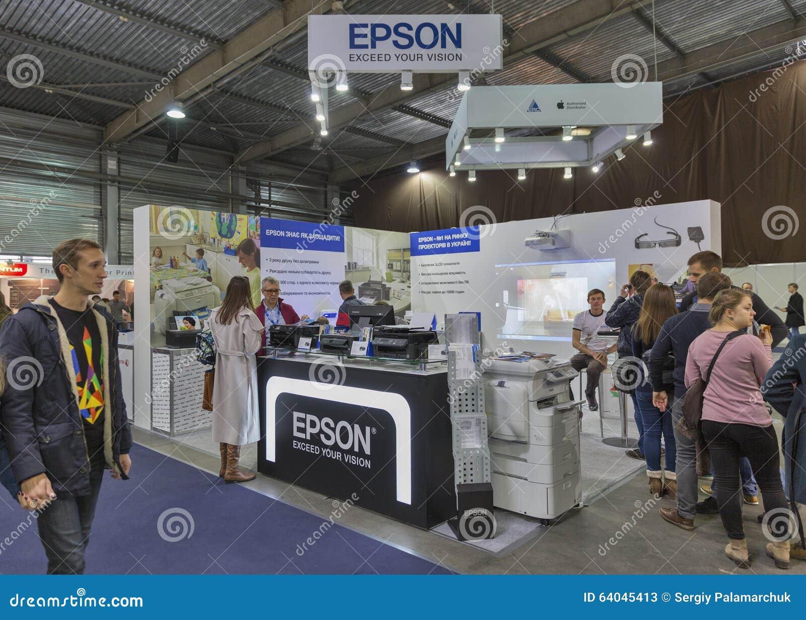 Epson firmy budka przy CEE 2015 wielka elektroniki wystawa handlowa w Ukraina