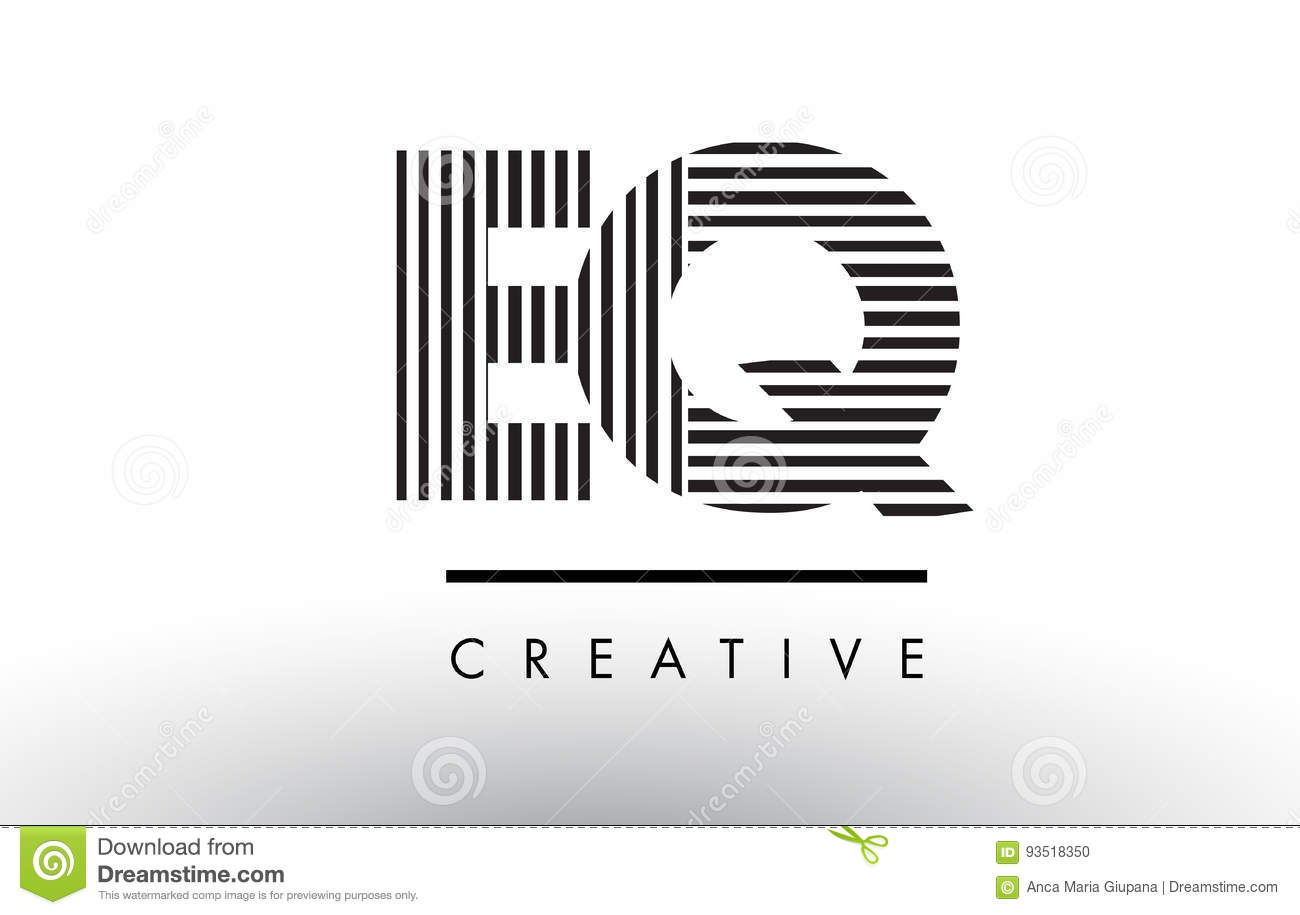 EQ E Q Black and White Lines Letter Logo Design.