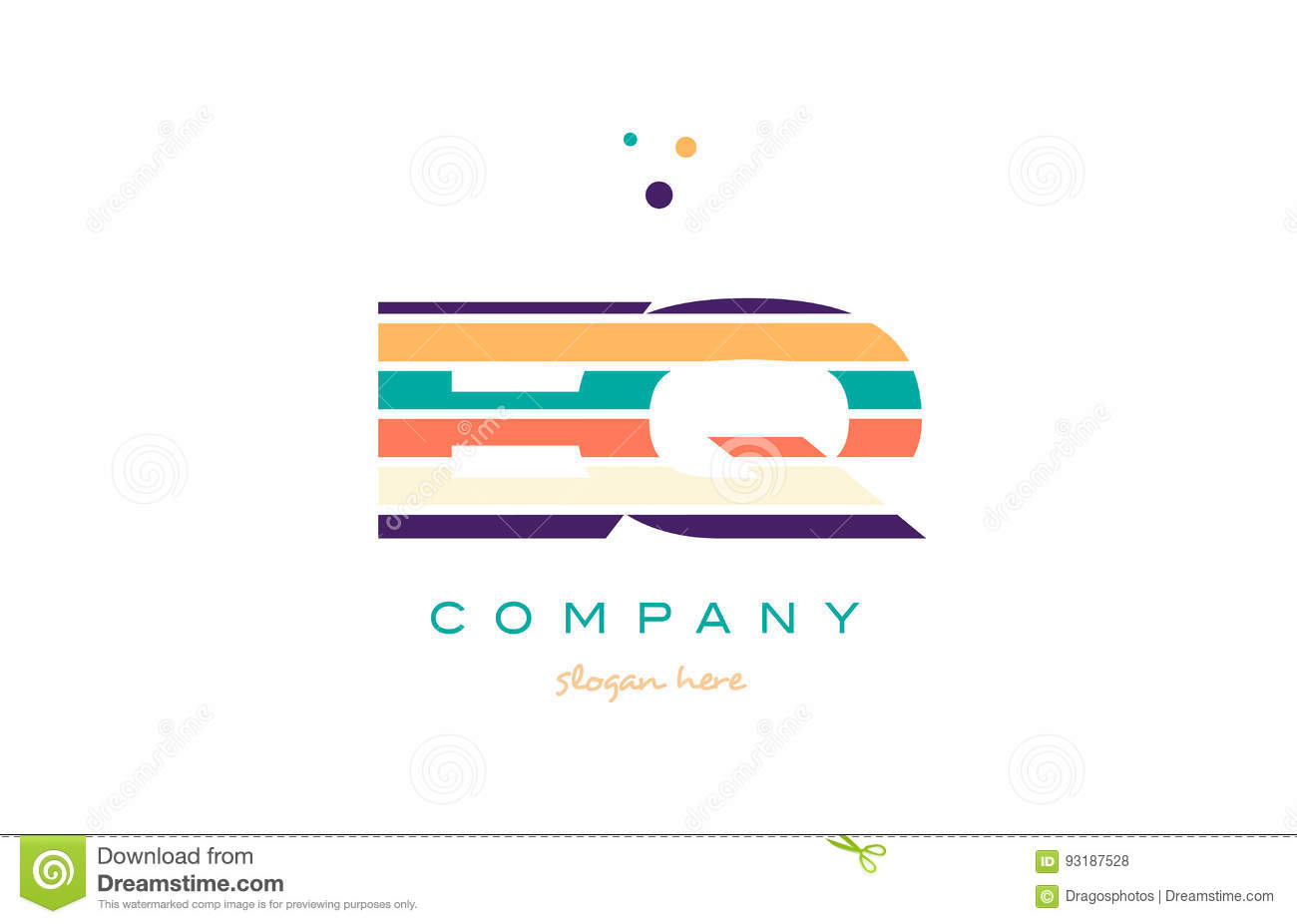 eq e q line stripes pastel color alphabet letter logo icon templ