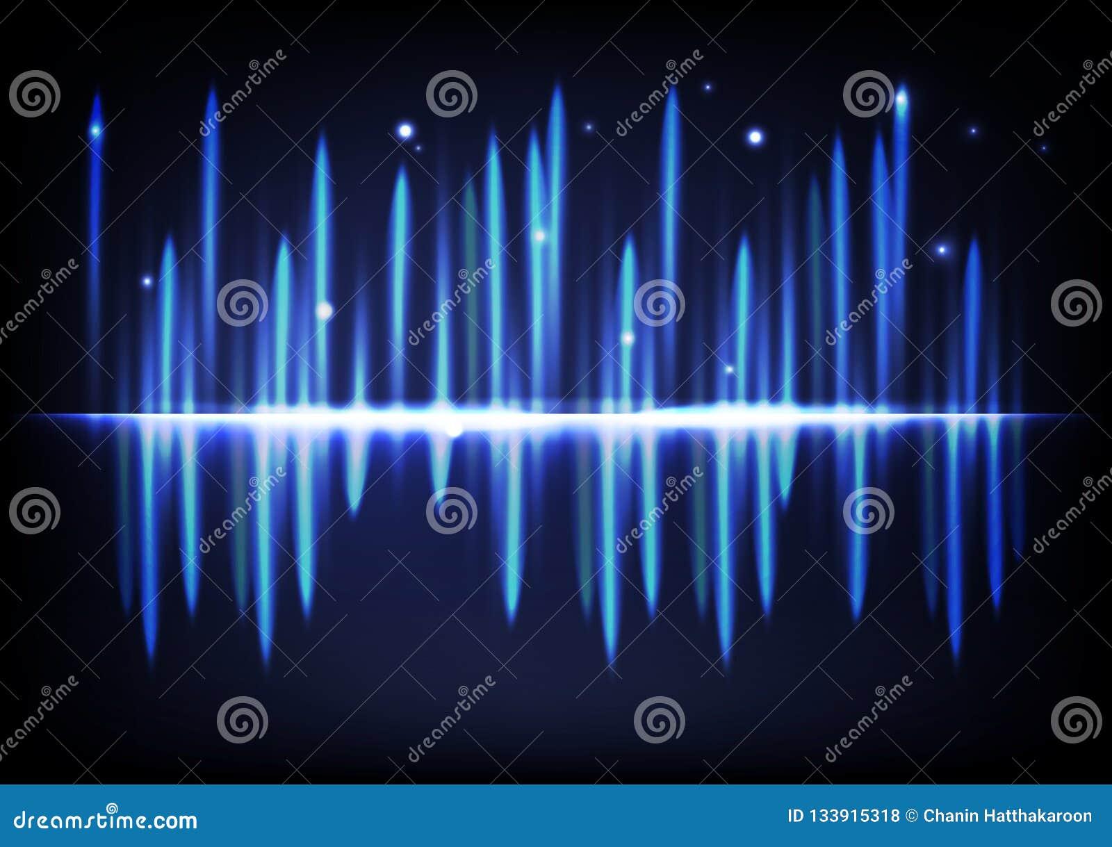Equ abstrato de incandescência brilhante claro do volume da música de fundo do efeito