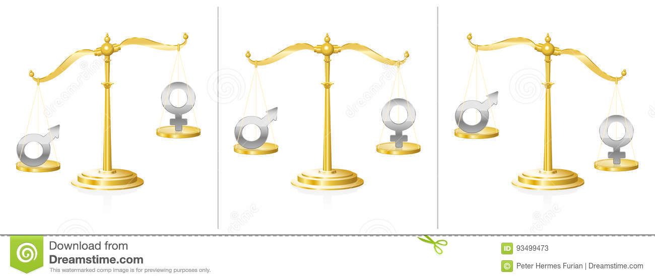 Equal Rights Scale Women Men Stock Vector Illustration Of Love