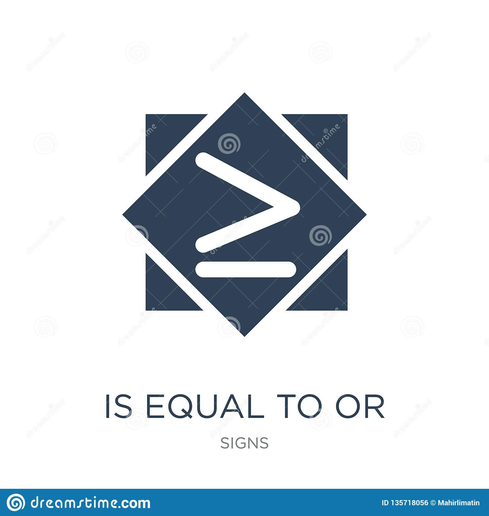 is equal to or greater than icon in trendy design style. is equal to or greater than icon isolated on white background. is equal