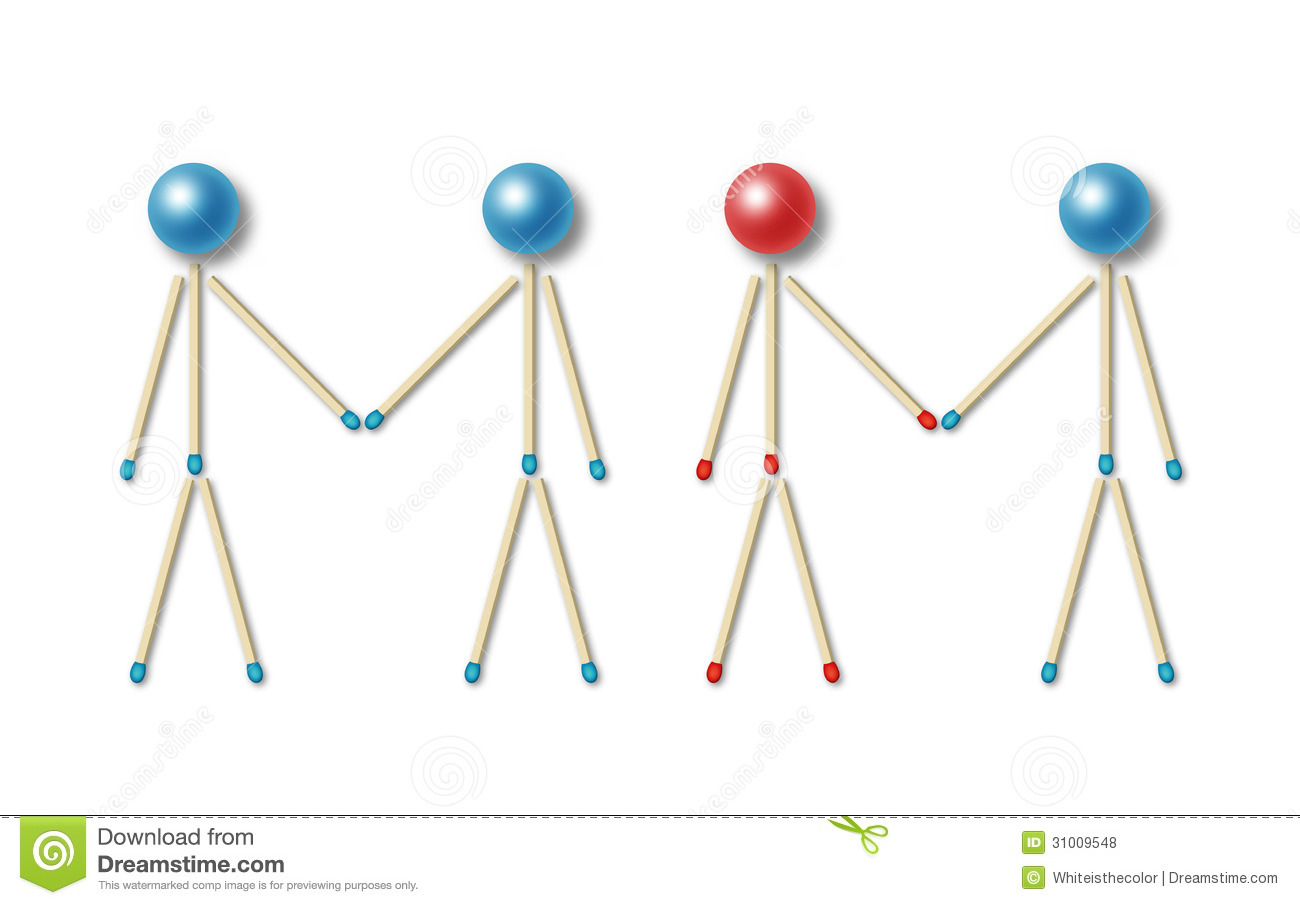 Four little men made of blue and red matches and balls shaking their ...