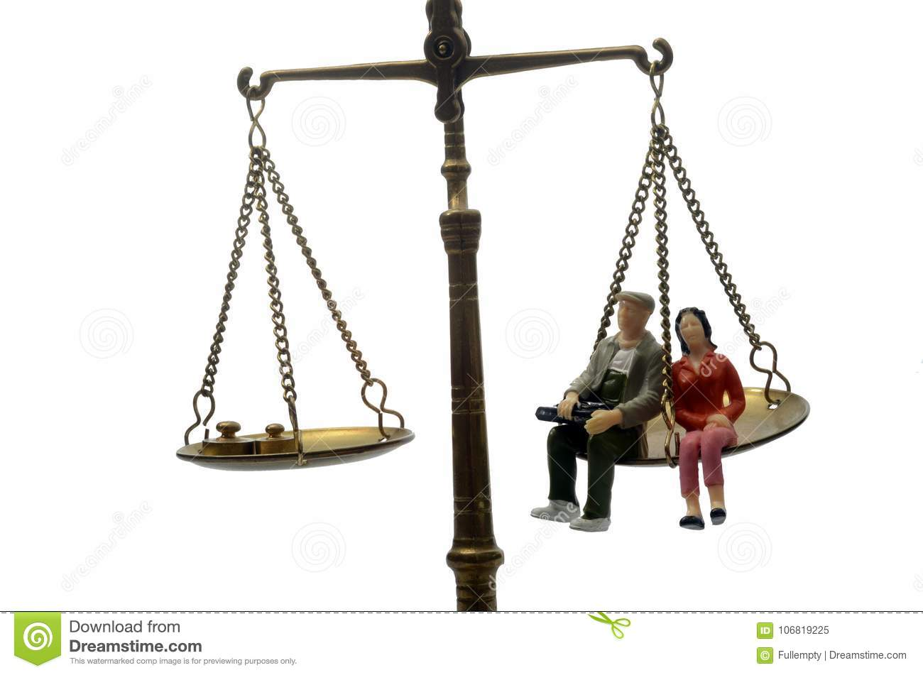 man and woman sitting on golden weighing scale stock image image