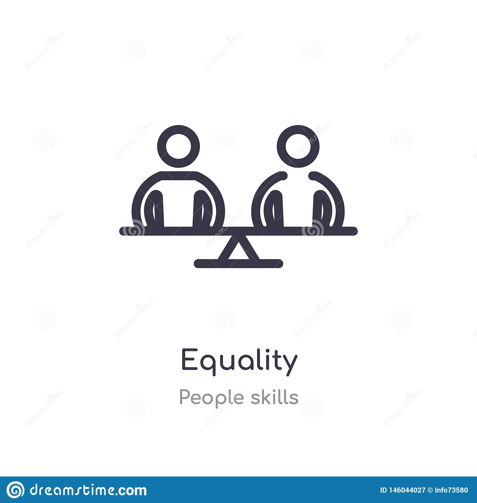 equality outline icon. isolated line vector illustration from people skills collection. editable thin stroke equality icon on