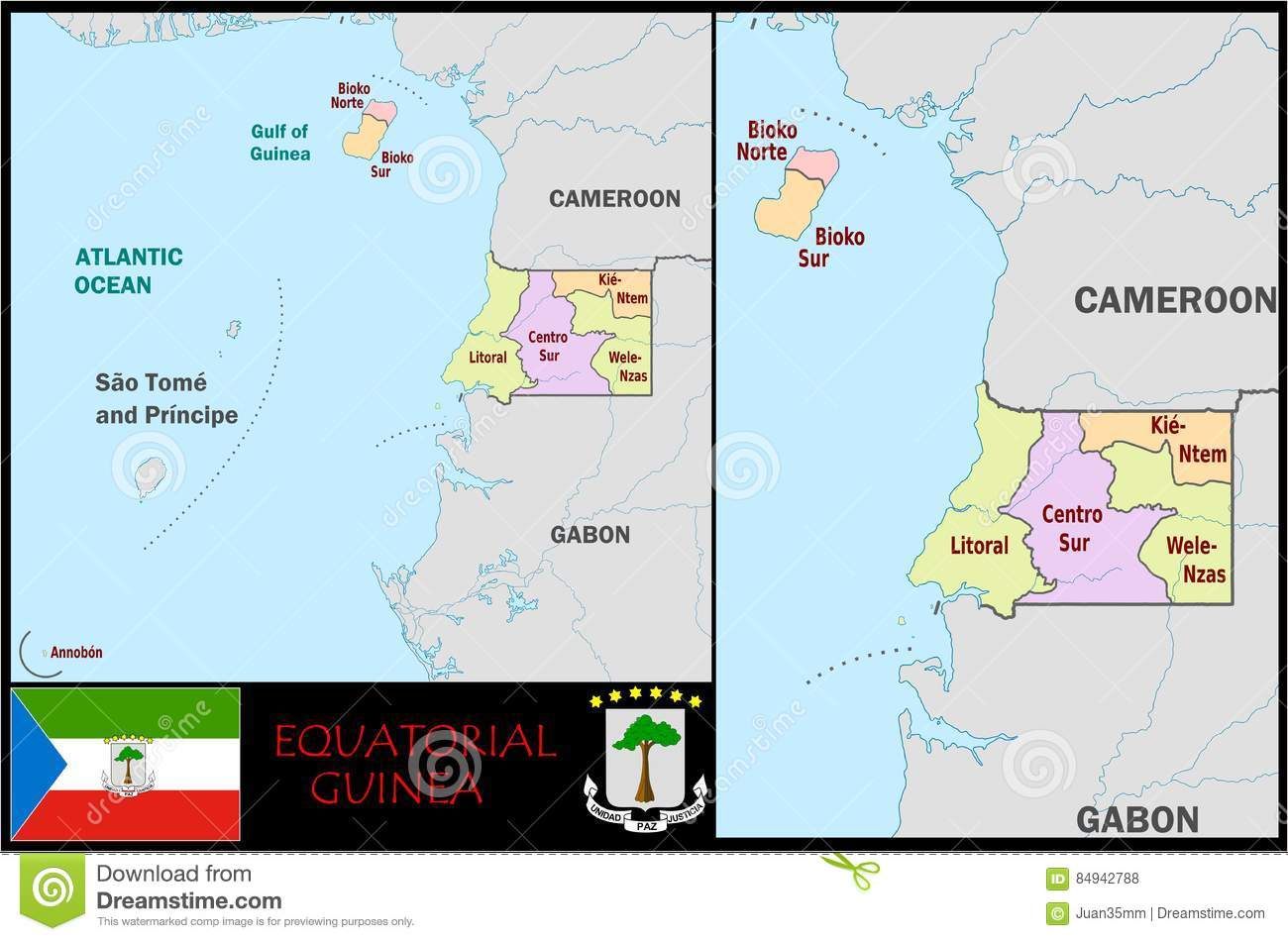 Equatorial Guinea Administrative Divisions Stock Illustration