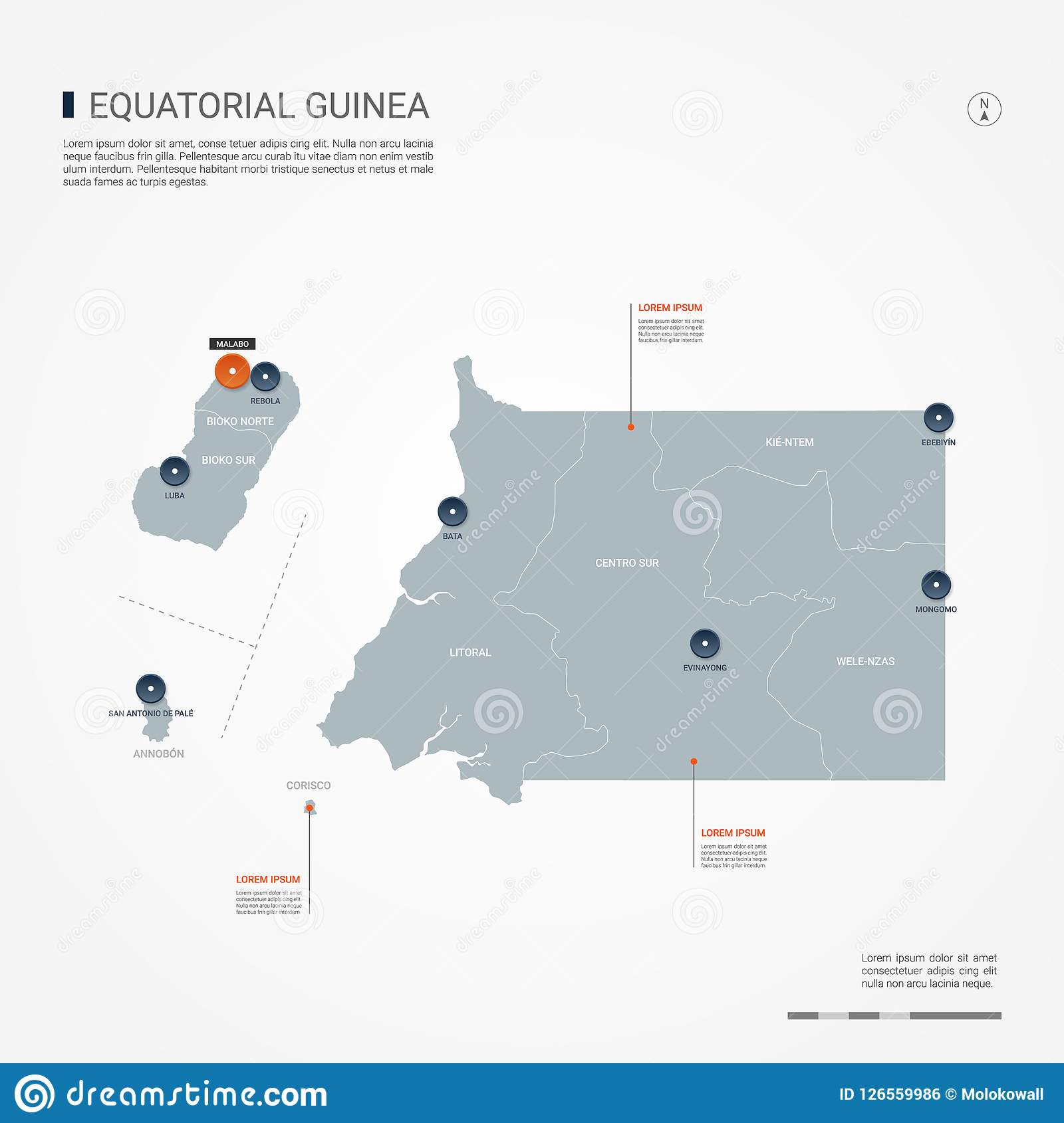 Equatorial Guinea Infographic Map Vector Illustration. Stock Vector ...