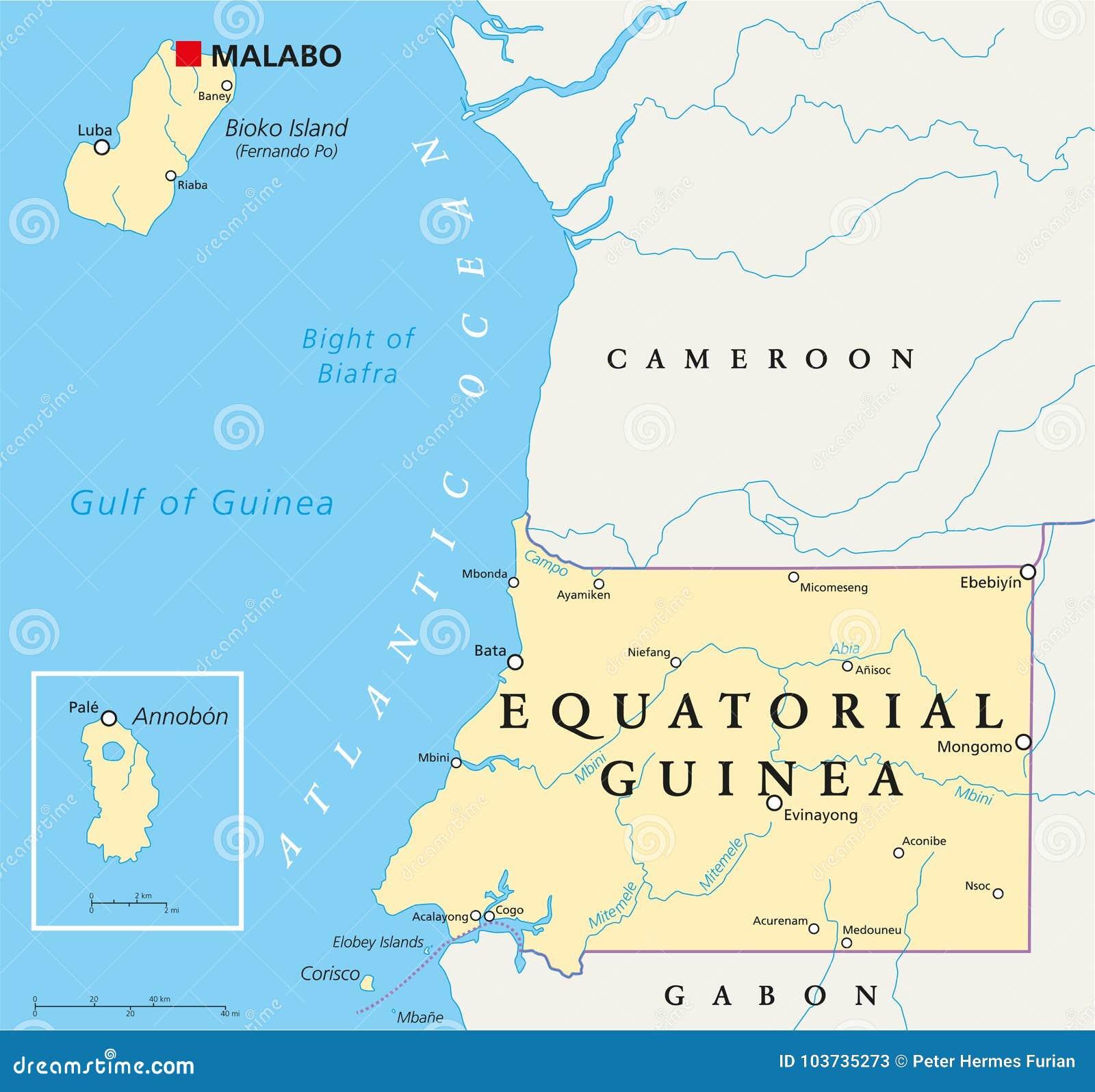 Equatorial Guinea Political Map Stock Vector - Illustration of ...