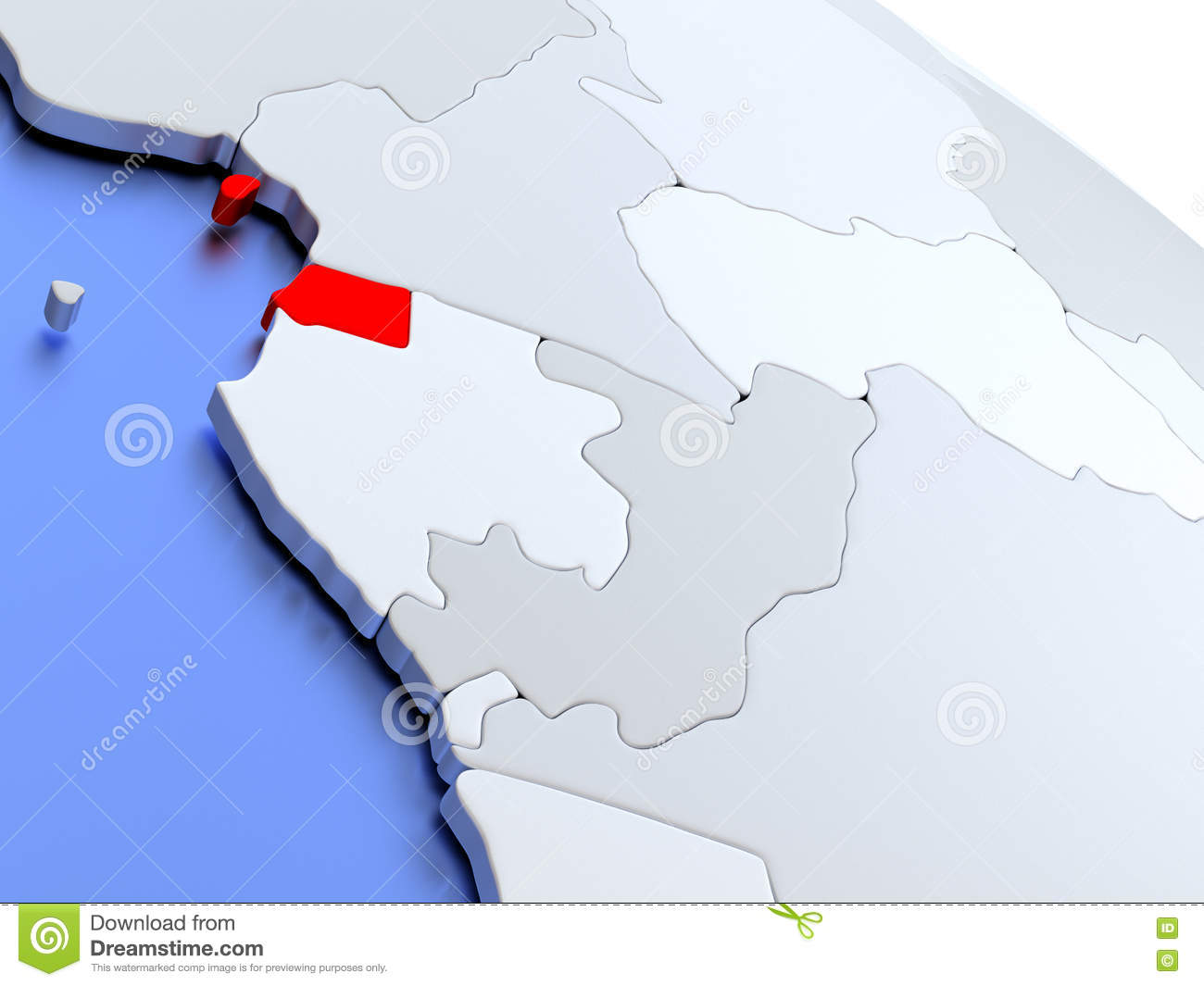 Equatorial Guinea On World Map Stock Illustration - Illustration of ...