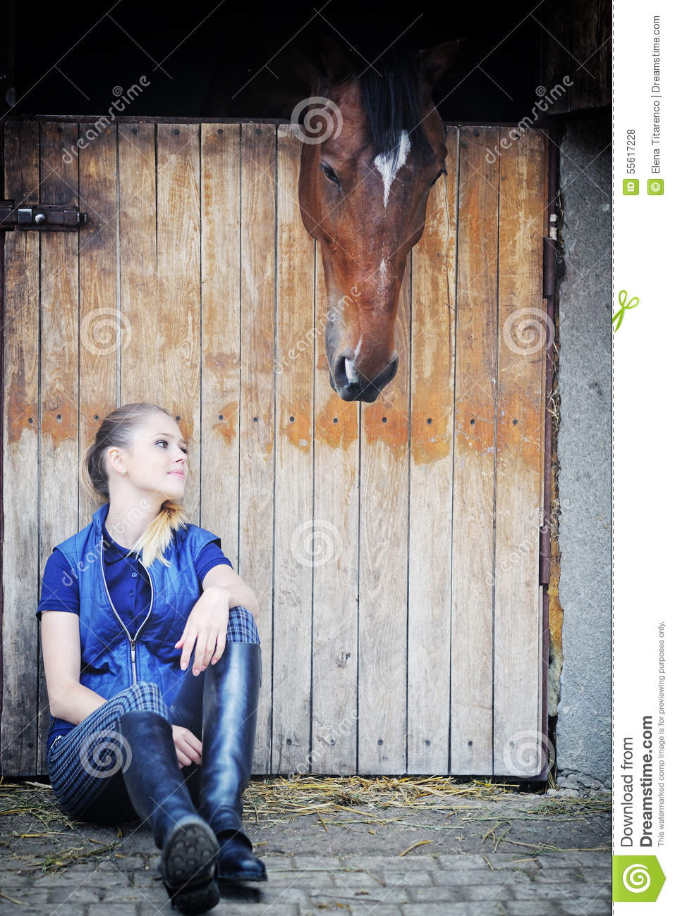 Equestrian Girl And Horse In Stable Stock Photo Image