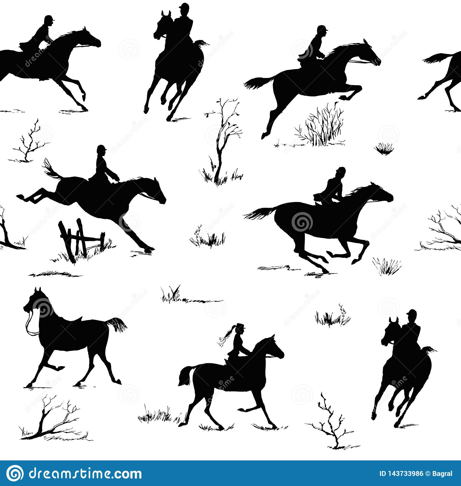Equestrian Horse Riding Style Silhouette Seamless Pattern Black And White English Fox Hunting Style Stock Vector Illustration Of Rider Galloping 143733986