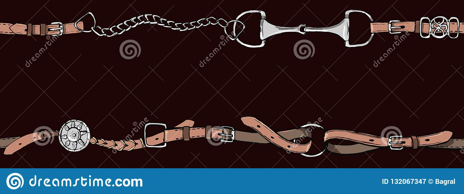 Belt Border Or Frame With Bit Leather Horse Riding Tack Tool On Black Stock Illustration Illustration Of Fashion Derby 132067347